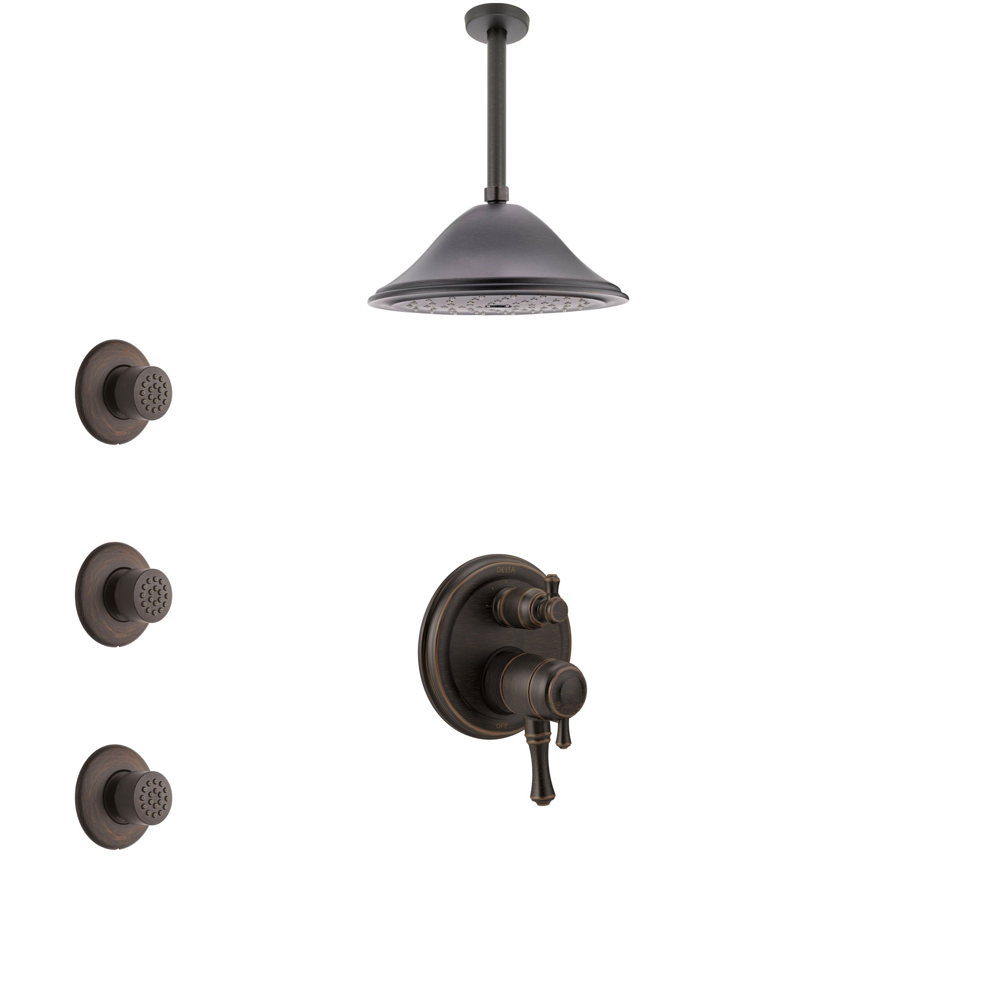 Delta Cassidy Venetian Bronze Shower System with Dual Control Handle, Integrated Diverter, Ceiling Mount Showerhead, and 3 Body Sprays SS27897RB9