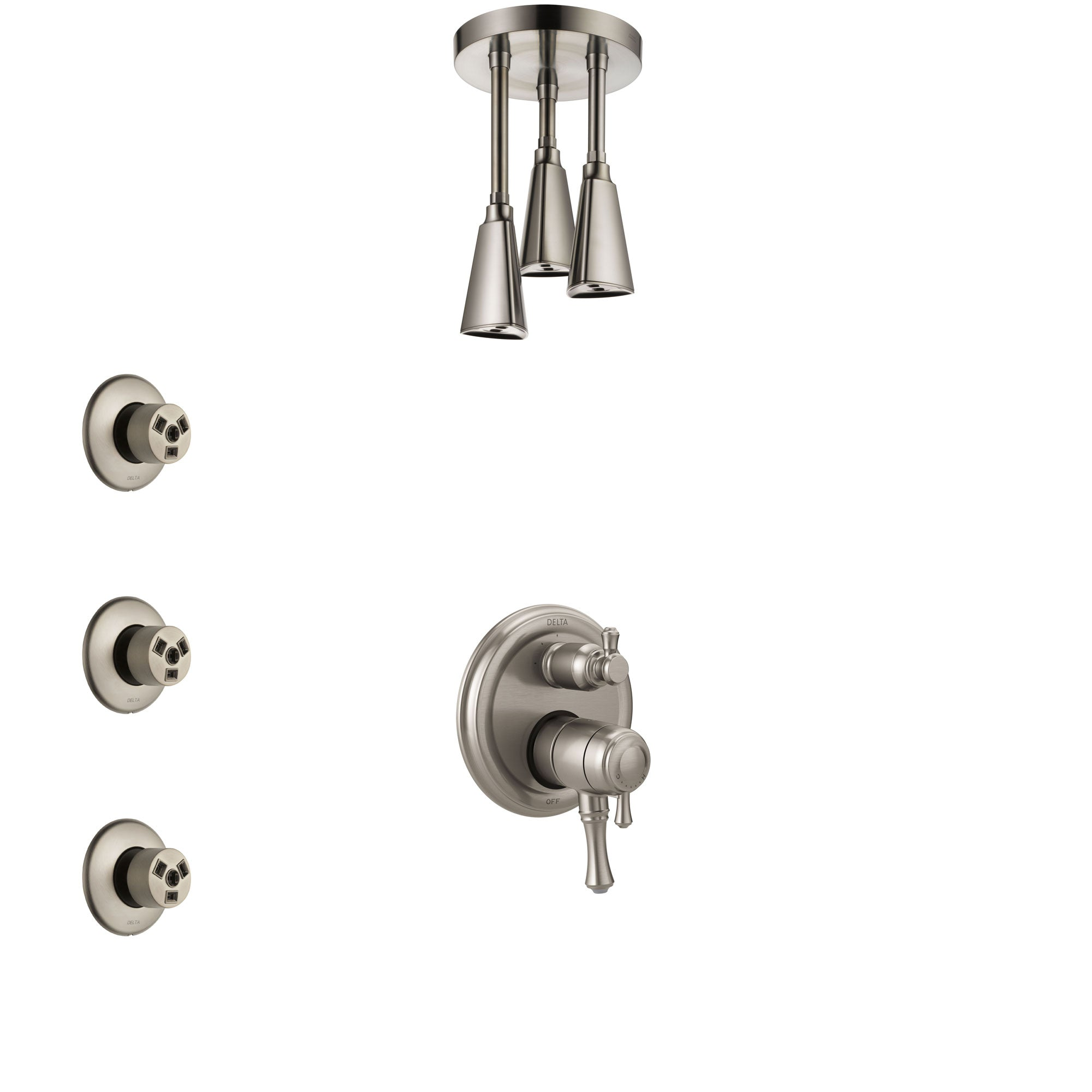 Delta Cassidy Dual Control Handle Stainless Steel Finish Shower System, Integrated Diverter, Ceiling Mount Showerhead, and 3 Body Sprays SS27897SS10