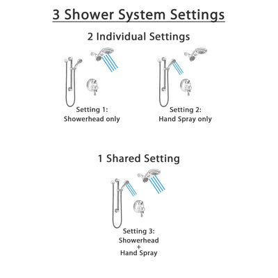Delta Cassidy Dual Control Handle Stainless Steel Finish Shower System, Integrated Diverter, Dual Showerhead, and Hand Shower with Grab Bar SS27897SS5