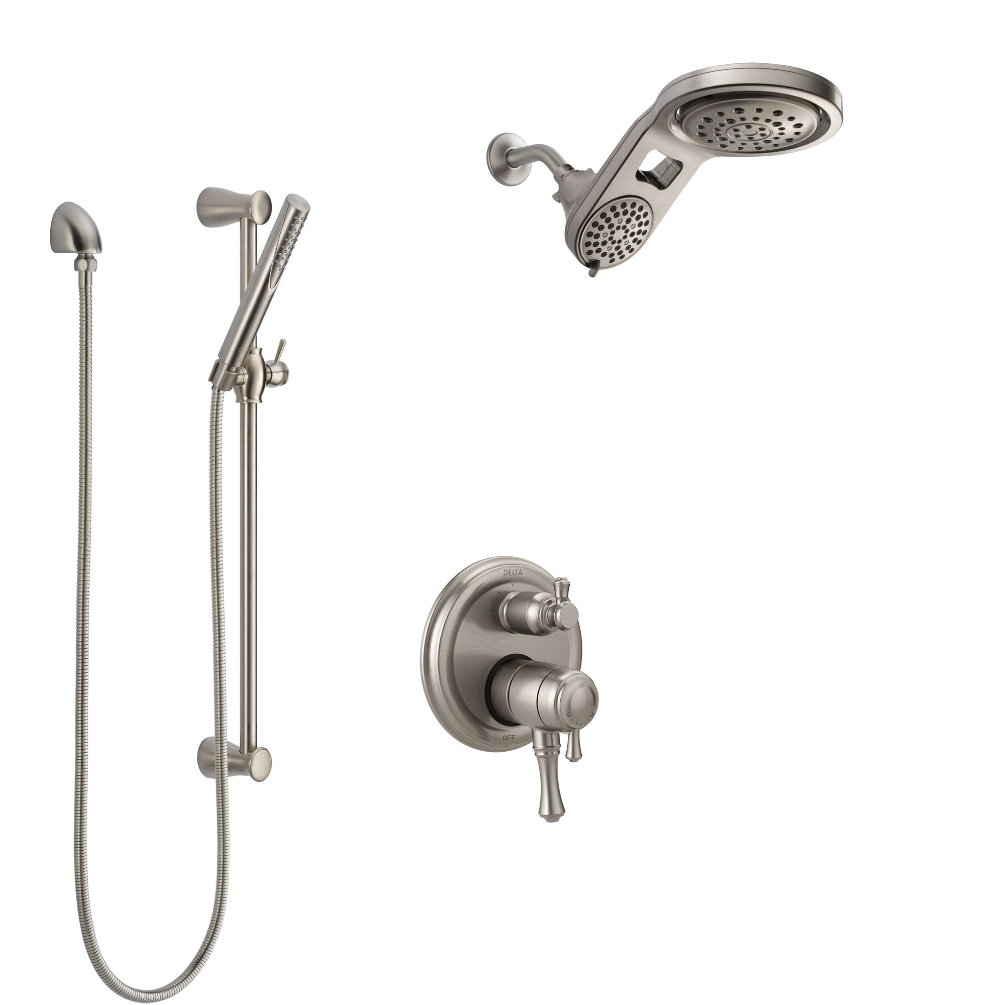 Delta Cassidy Dual Control Handle Stainless Steel Finish Shower System, Integrated Diverter, Dual Showerhead, and Hand Shower with Slidebar SS27897SS6