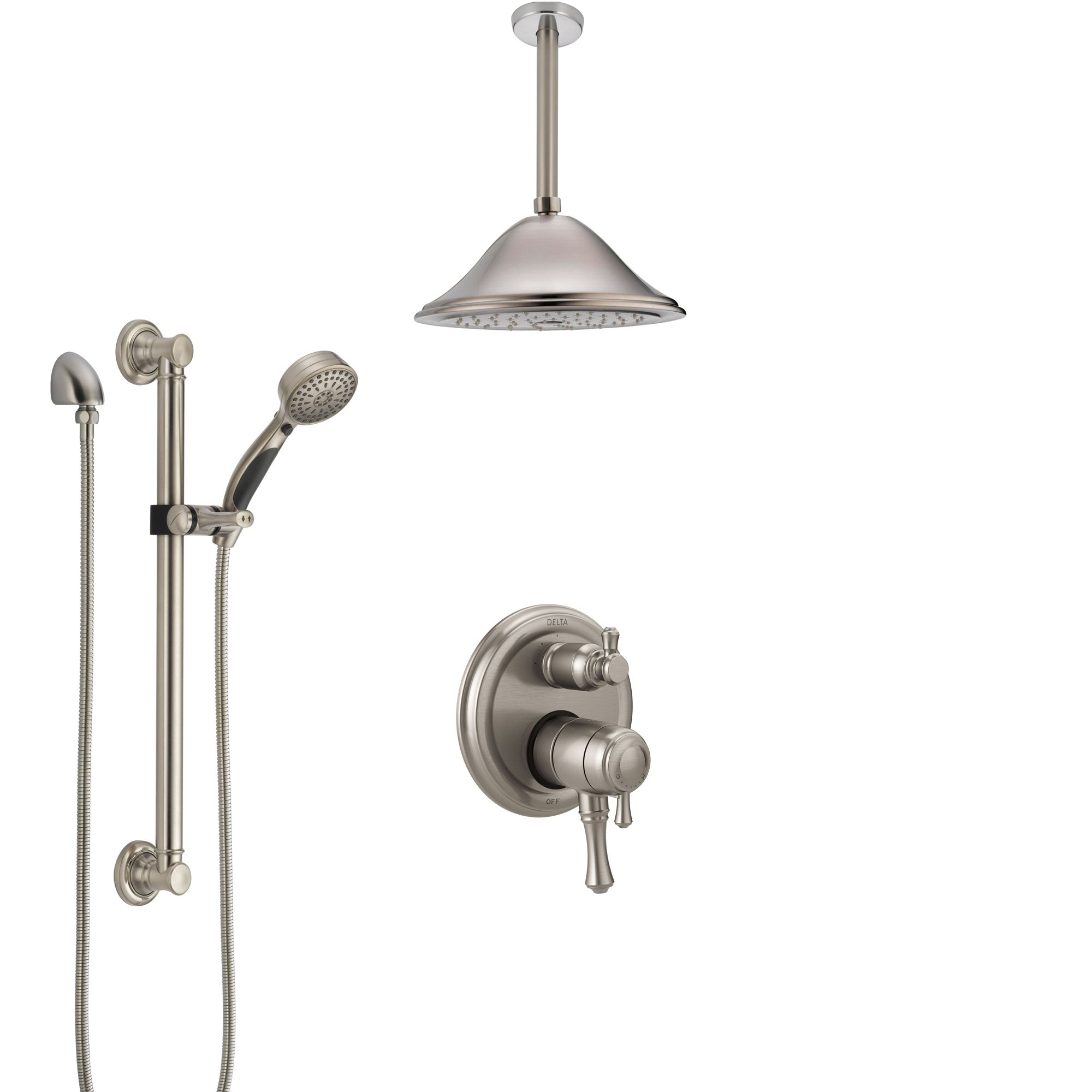 Delta Cassidy Dual Control Handle Stainless Steel Finish Integrated Diverter Shower System, Ceiling Showerhead, and Grab Bar Hand Shower SS27897SS8