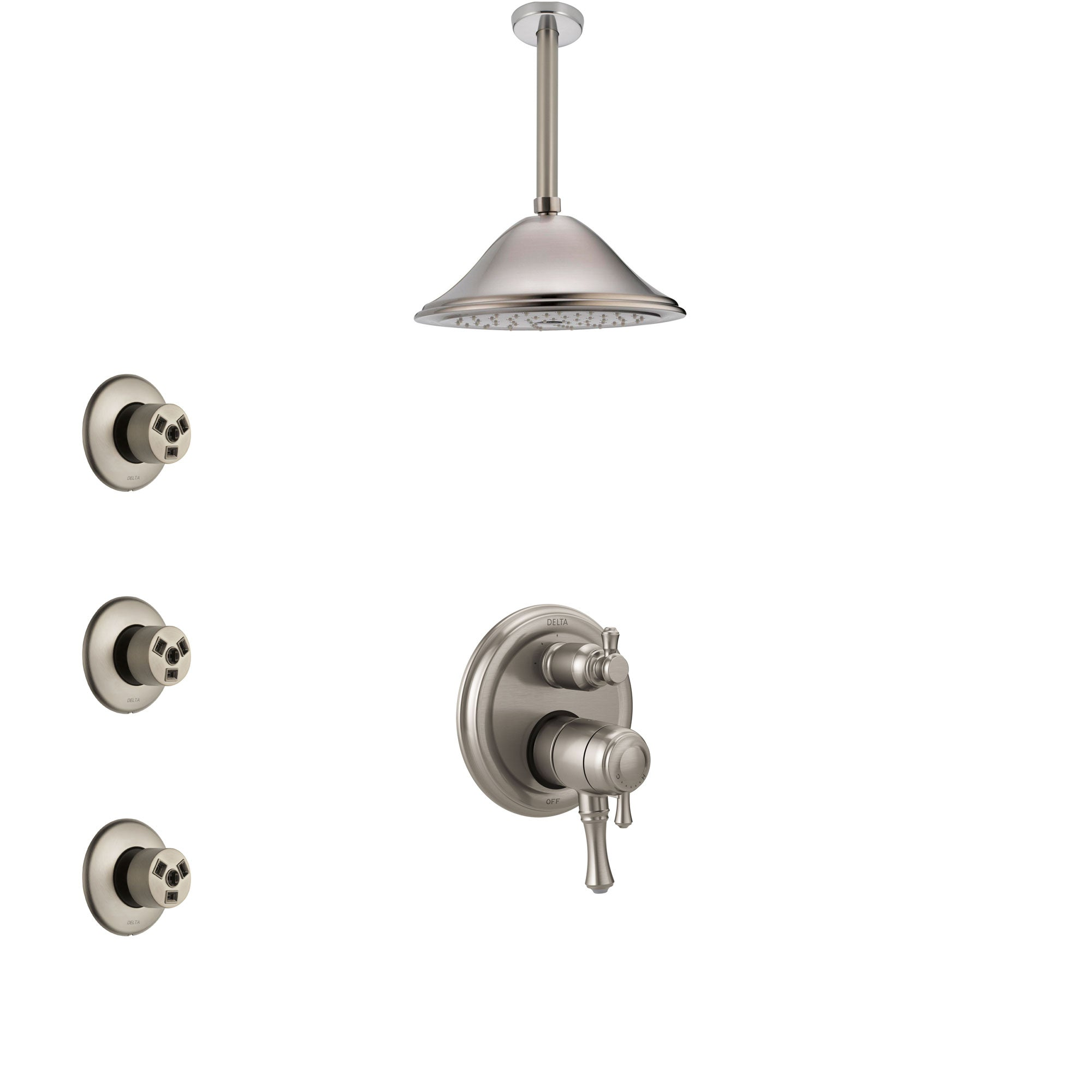 Delta Cassidy Dual Control Handle Stainless Steel Finish Shower System, Integrated Diverter, Ceiling Mount Showerhead, and 3 Body Sprays SS27897SS9