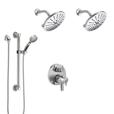 Delta Trinsic Chrome Shower System with Dual Control Handle, Integrated 6-Setting Diverter, 2 Showerheads, and Hand Shower with Grab Bar SS2795911