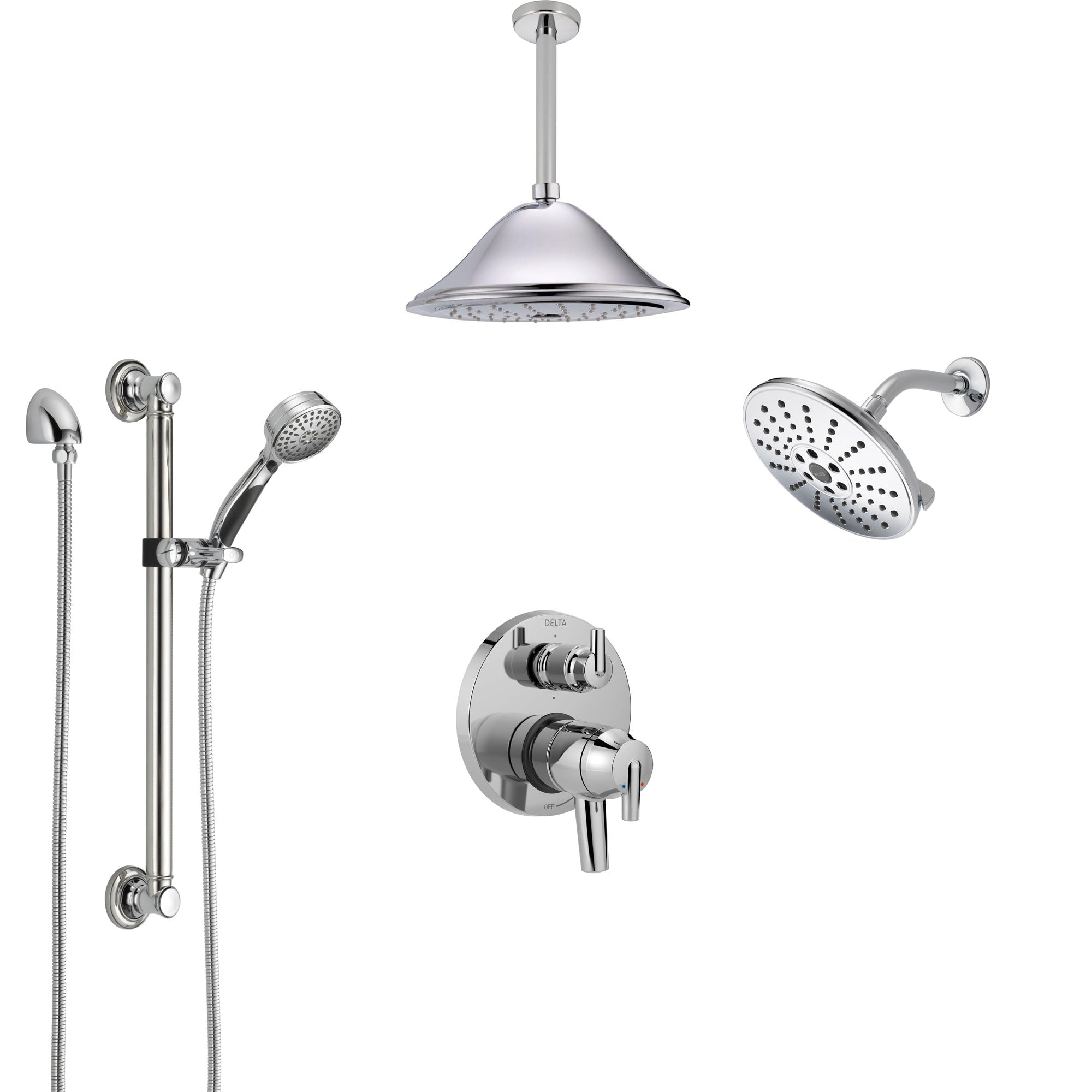 Delta Trinsic Chrome Shower System with Dual Control Handle, Integrated Diverter, Showerhead, Ceiling Showerhead, and Grab Bar Hand Shower SS2795912