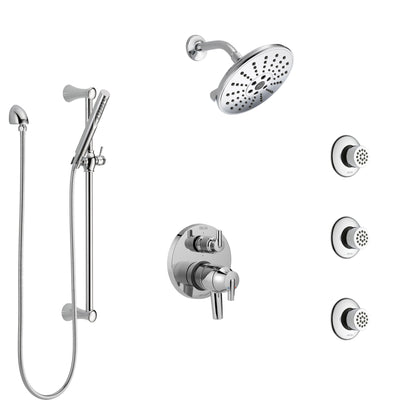 Delta Trinsic Chrome Finish Shower System with Dual Control Handle, Integrated 6-Setting Diverter, Showerhead, 3 Body Sprays, and Hand Shower SS279591