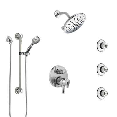 Delta Trinsic Chrome Shower System with Dual Control Handle, Integrated Diverter, Showerhead, 3 Body Sprays, and Hand Shower with Grab Bar SS279592