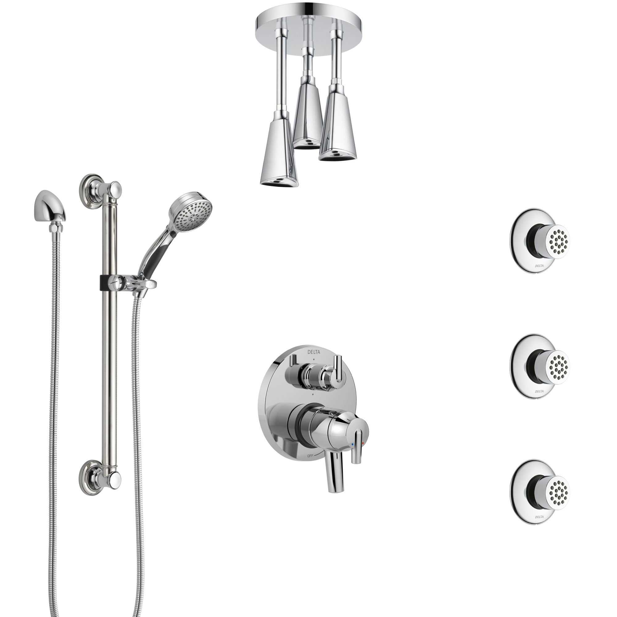 Delta Trinsic Chrome Shower System with Dual Control Handle, Integrated Diverter, Ceiling Showerhead, 3 Body Sprays, and Grab Bar Hand Shower SS279593