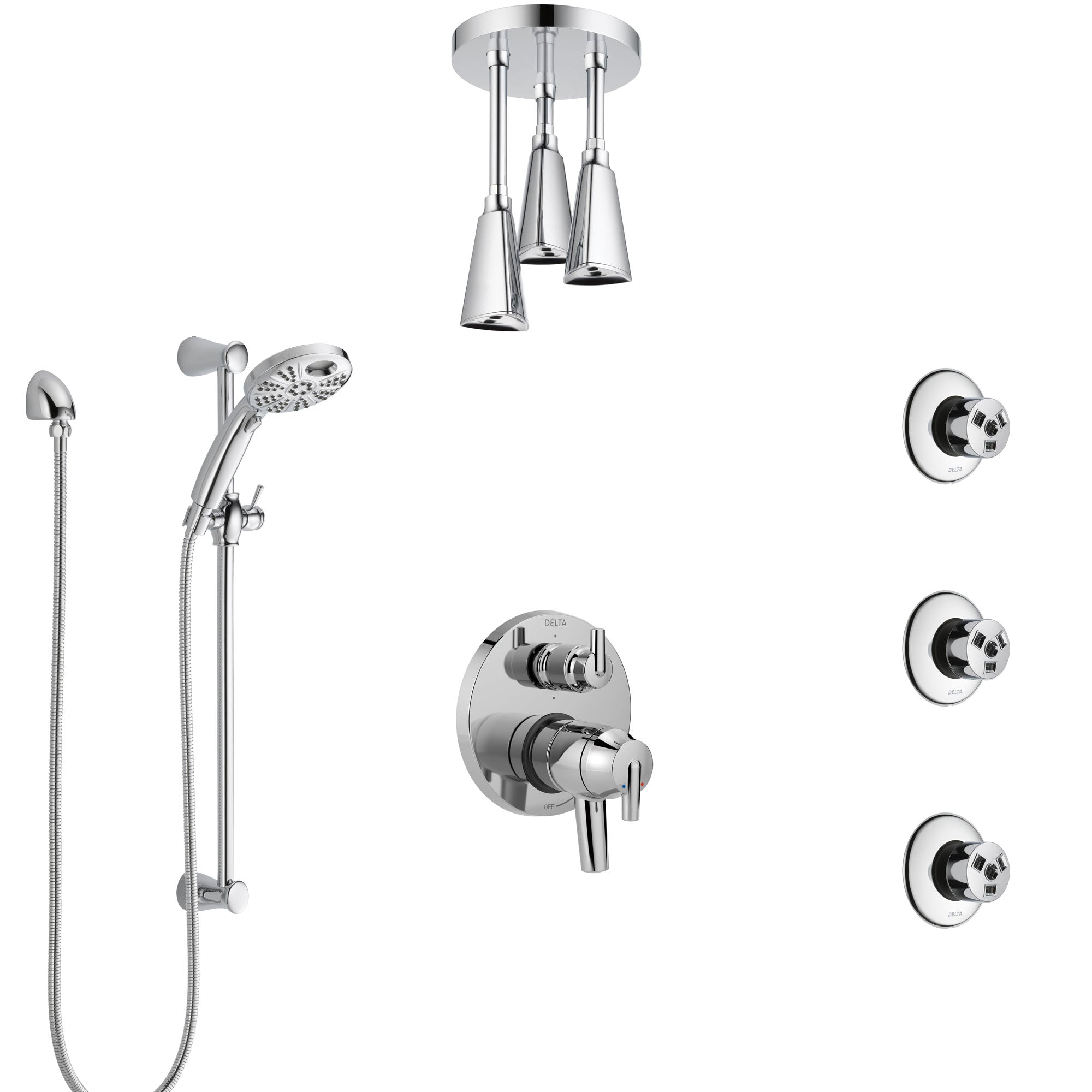 Delta Trinsic Chrome Dual Control Handle Shower System, Integrated Diverter, Ceiling Mount Showerhead, 3 Body Sprays, and Temp2O Hand Shower SS279595