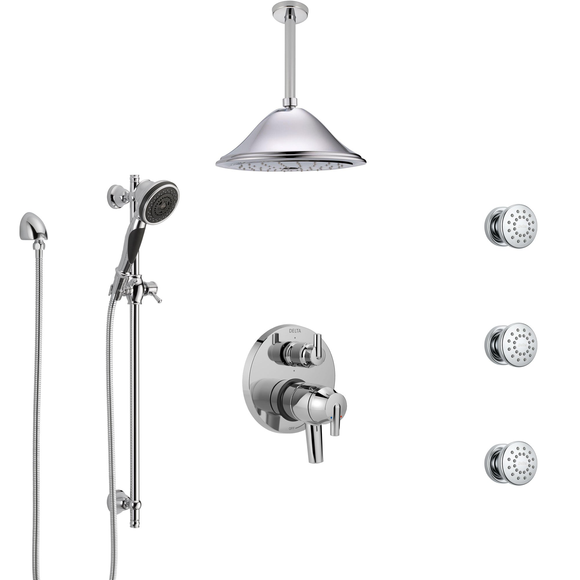 Delta Trinsic Chrome Shower System with Dual Control Handle, Integrated Diverter, Ceiling Mount Showerhead, 3 Body Sprays, and Hand Shower SS279598