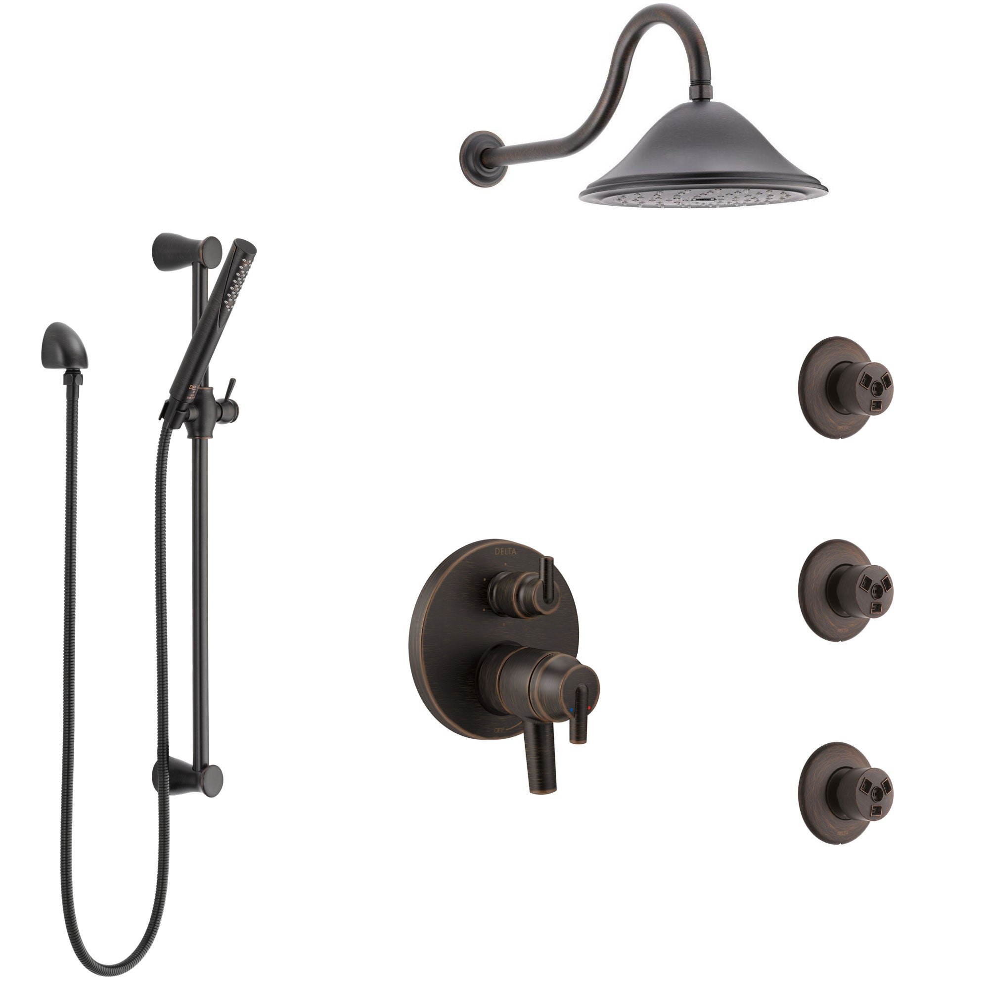 Delta Trinsic Venetian Bronze Shower System with Dual Control Handle, Integrated Diverter, Showerhead, 3 Body Sprays, and Hand Shower SS27959RB11