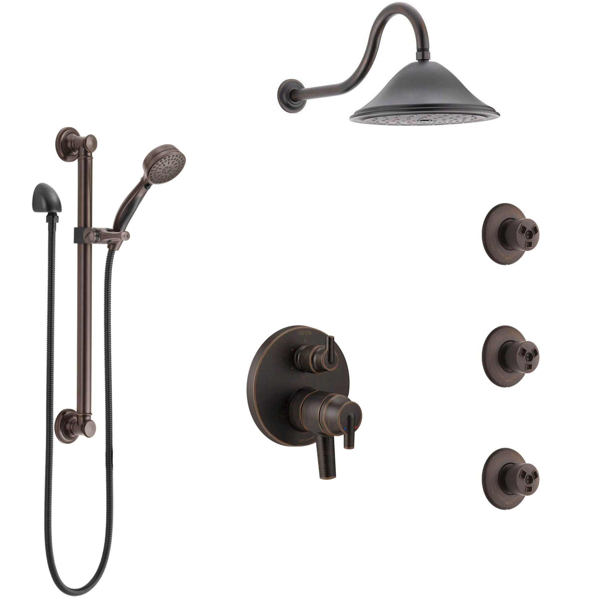 Delta Trinsic Venetian Bronze Shower System with Dual Control Handle, Integrated Diverter, Showerhead, 3 Body Sprays, Grab Bar Hand Spray SS27959RB12