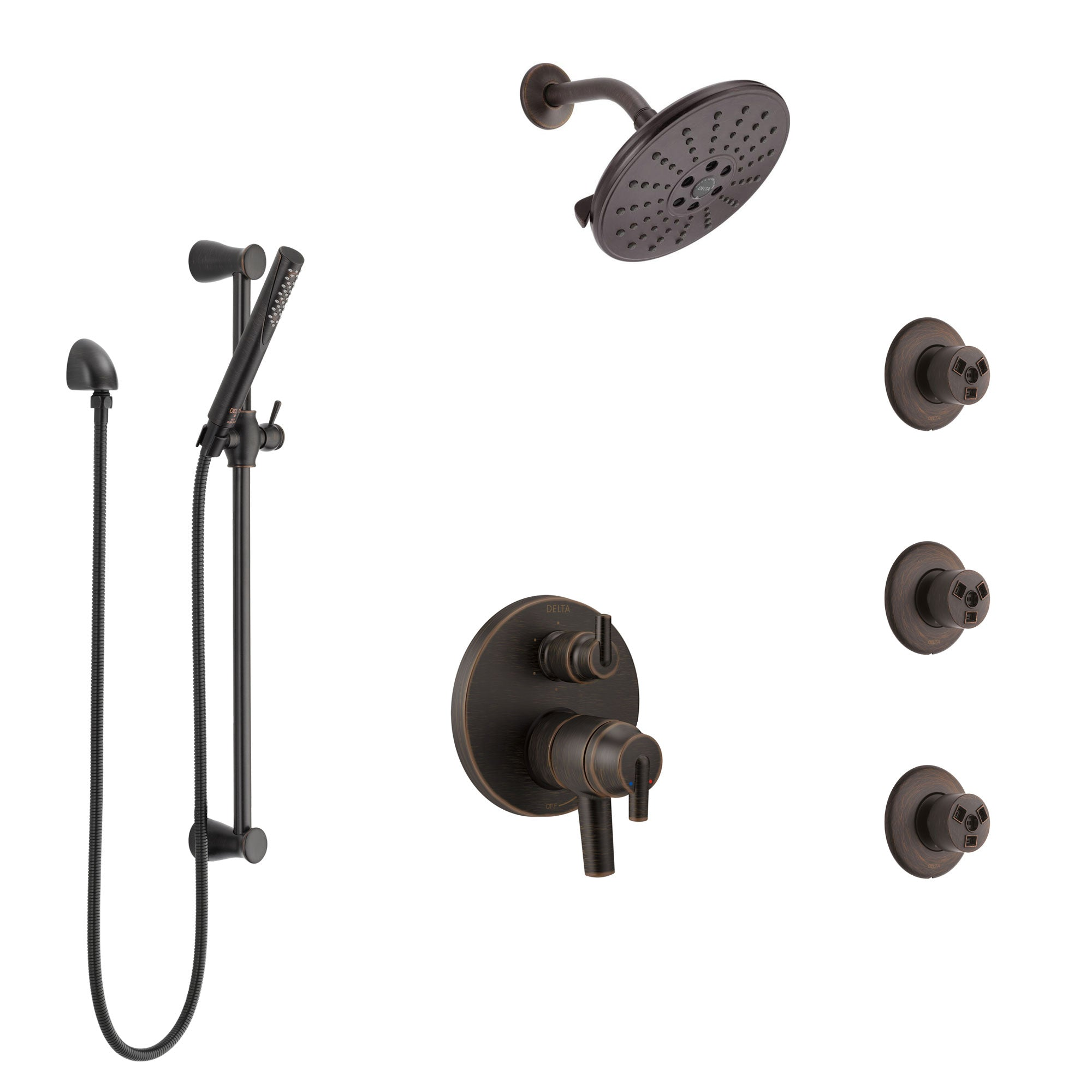 Delta Trinsic Venetian Bronze Shower System with Dual Control Handle, Integrated Diverter, Showerhead, 3 Body Sprays, and Hand Shower SS27959RB1