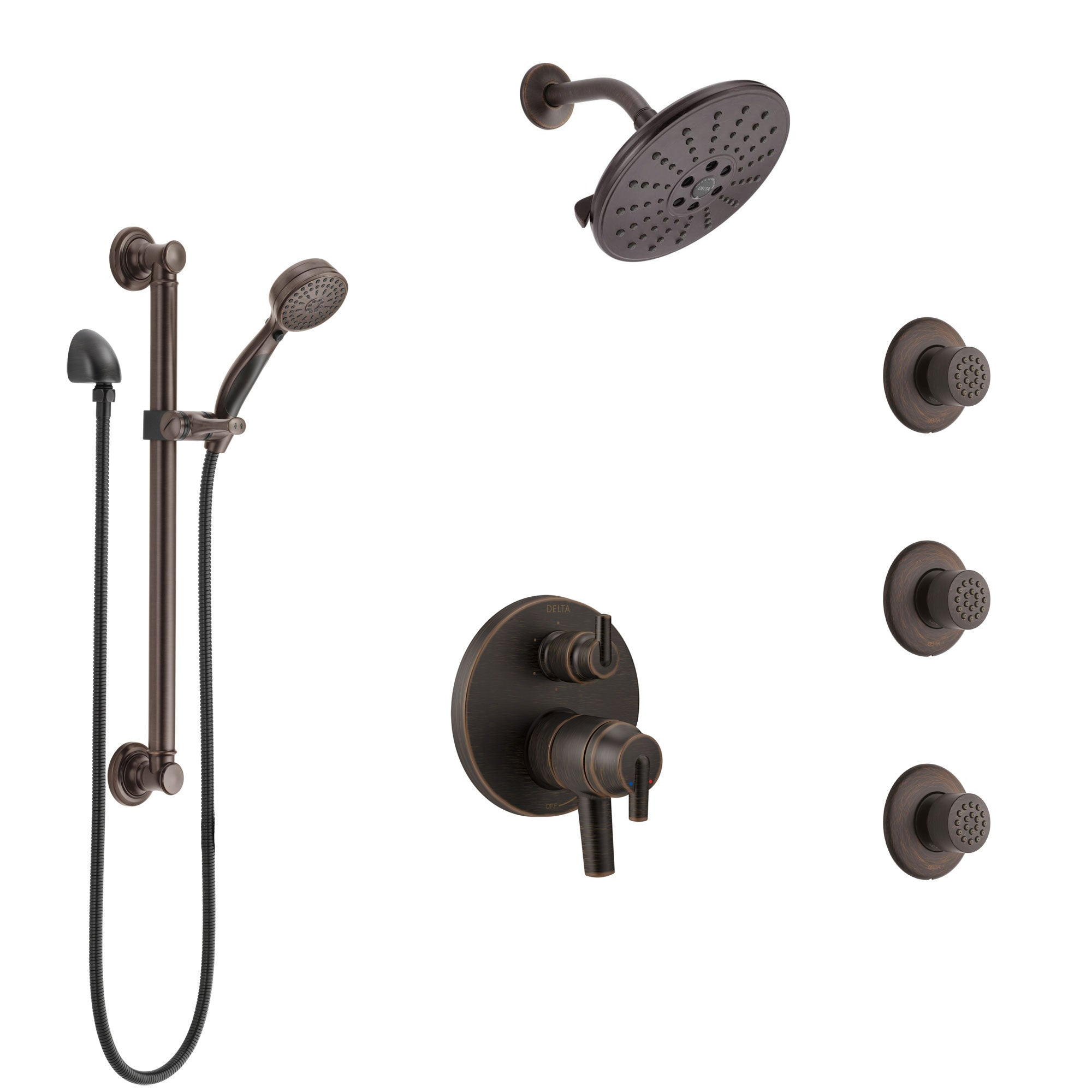 Delta Trinsic Venetian Bronze Shower System with Dual Control Handle, Integrated Diverter, Showerhead, 3 Body Sprays, Grab Bar Hand Spray SS27959RB3