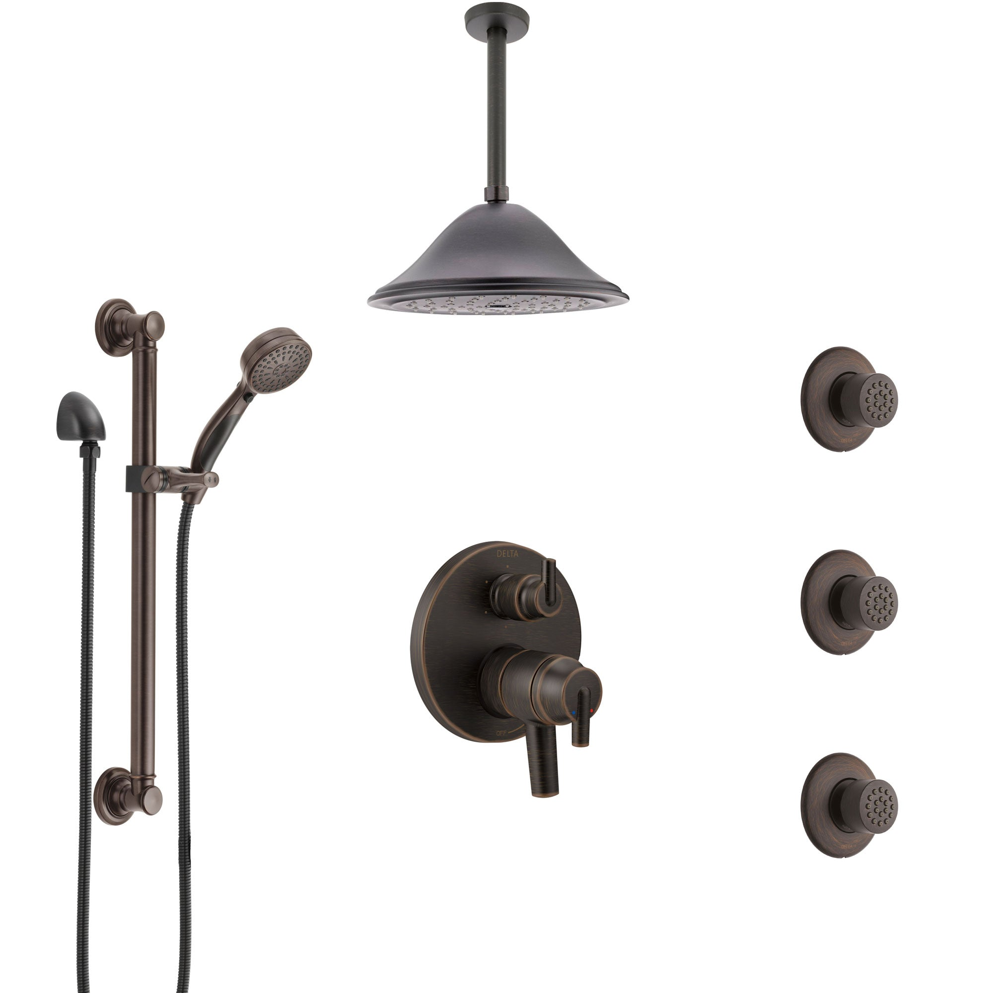 Delta Trinsic Venetian Bronze Dual Control Handle Shower System, Integrated Diverter, Ceiling Showerhead, 3 Body Jets, Grab Bar Hand Spray SS27959RB8