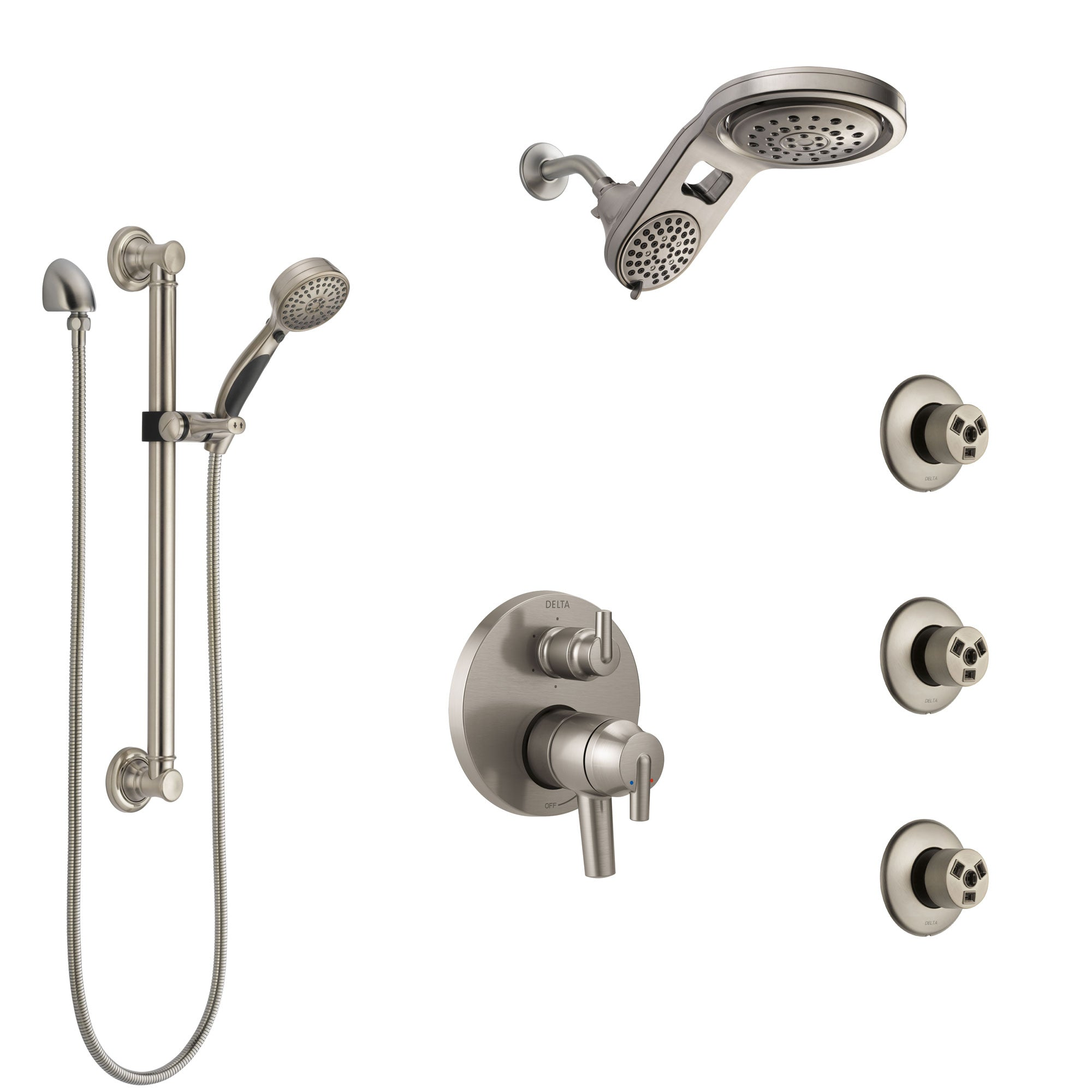 Delta Trinsic Dual Control Handle Stainless Steel Finish Shower System, Dual Showerhead, 3 Body Jets, Grab Bar Hand Spray SS27959SS10
