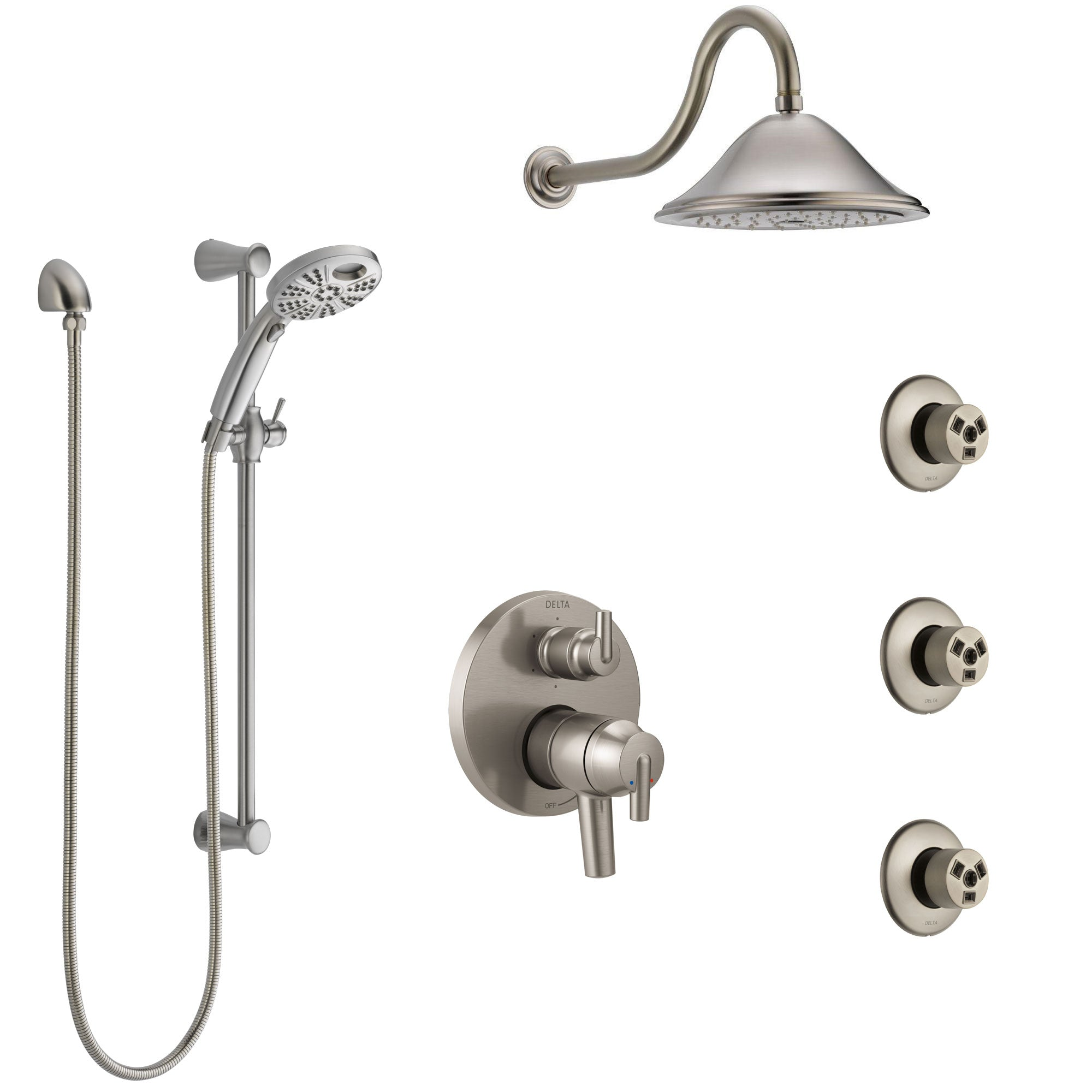 Delta Trinsic Dual Control Stainless Steel Finish Shower System, Integrated Diverter, Showerhead, 3 Body Sprays, and Temp2O Hand Shower SS27959SS12