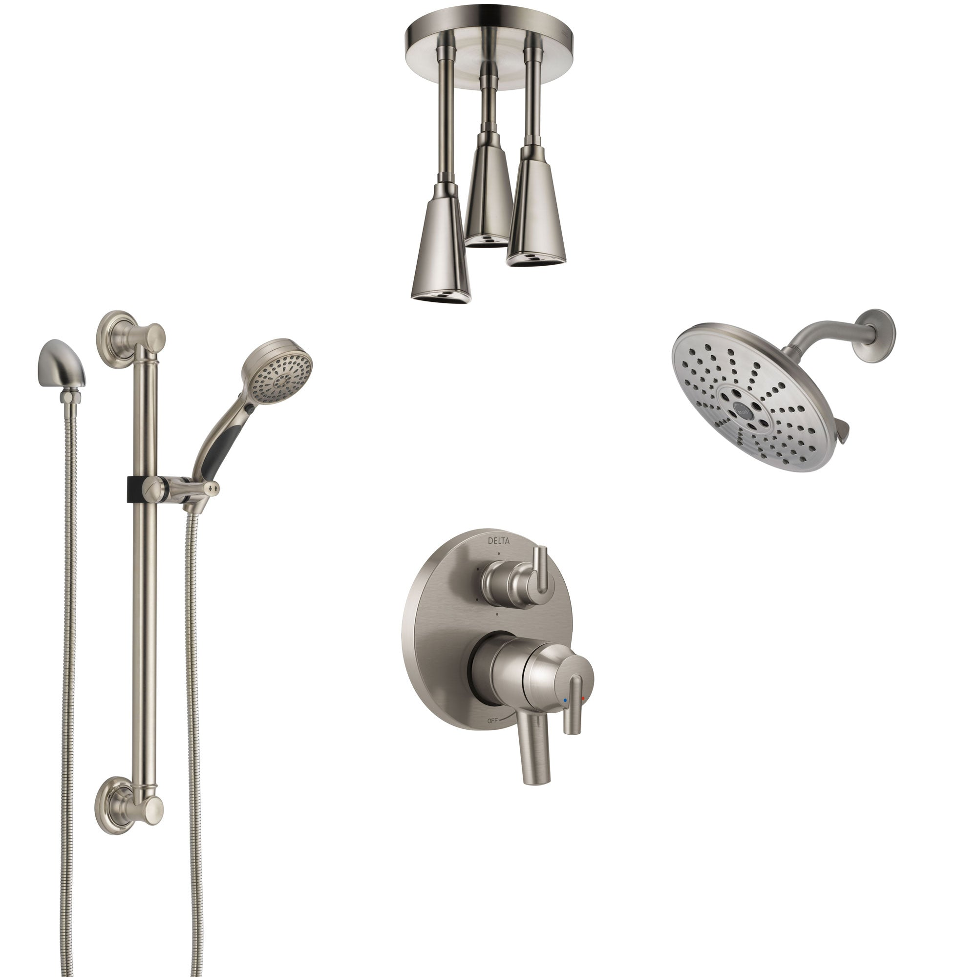 Delta Trinsic Dual Control Handle Stainless Steel Finish Shower System, Showerhead, Ceiling Showerhead, Grab Bar Hand Spray SS27959SS2