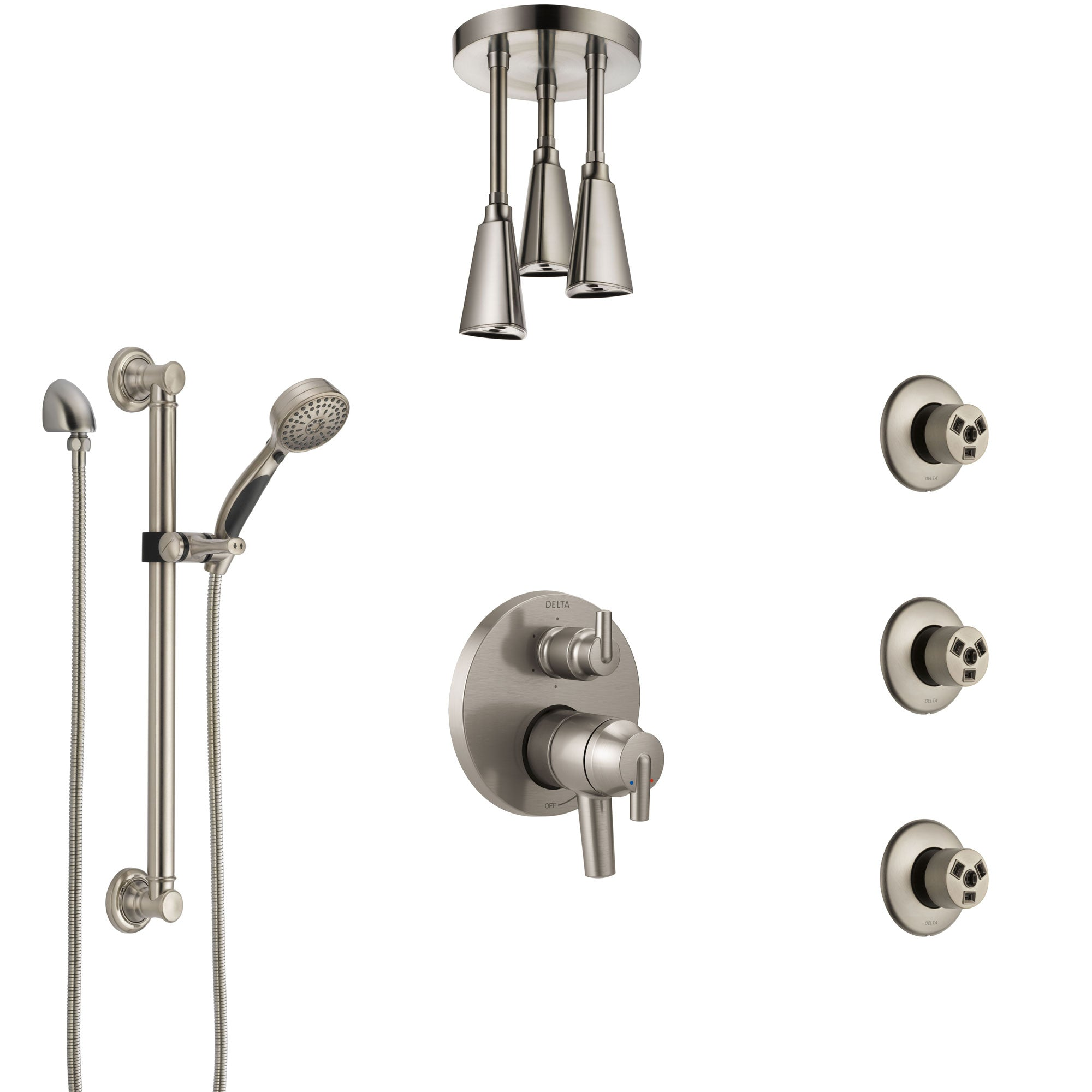 Delta Trinsic Dual Control Handle Stainless Steel Finish Shower System, Ceiling Showerhead, 3 Body Jets, Grab Bar Hand Spray SS27959SS3