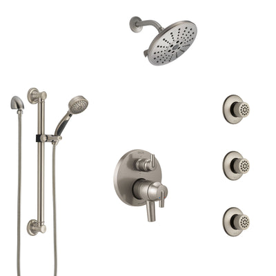 Delta Trinsic Dual Control Handle Stainless Steel Finish Integrated Diverter Shower System, Showerhead, 3 Body Sprays, Grab Bar Hand Spray SS27959SS5