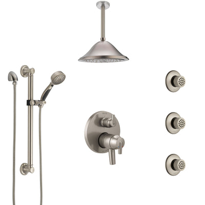 Delta Trinsic Dual Control Handle Stainless Steel Finish Shower System, Ceiling Showerhead, 3 Body Jets, Grab Bar Hand Spray SS27959SS6