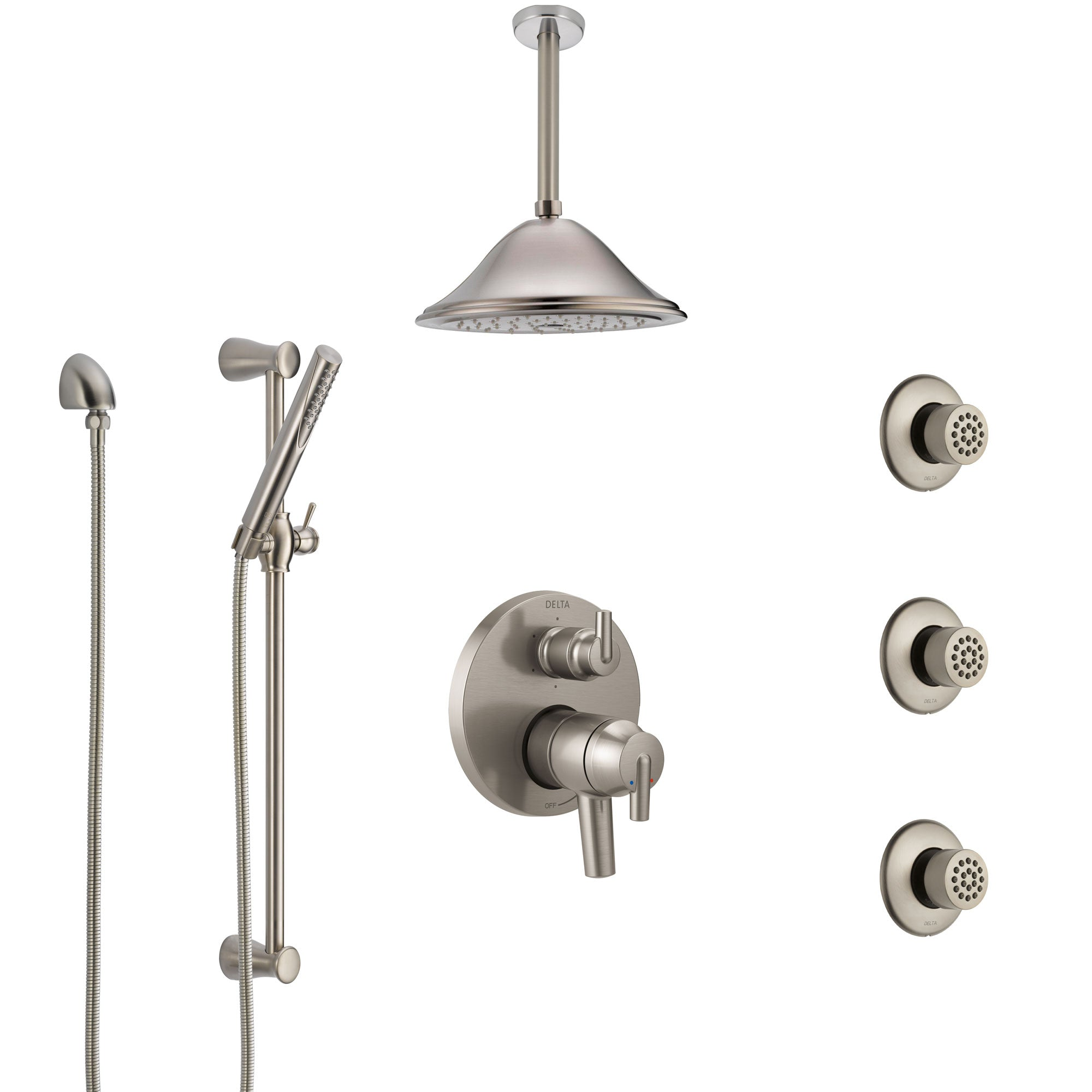 Delta Trinsic Dual Control Handle Stainless Steel Finish Integrated Diverter Shower System, Ceiling Showerhead, 3 Body Sprays, Hand Spray SS27959SS7
