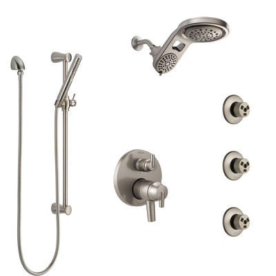 Delta Trinsic Dual Control Handle Stainless Steel Finish Integrated Diverter Shower System, Dual Showerhead, 3 Body Sprays, and Hand Shower SS27959SS9