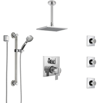 Delta Ara Chrome Shower System with Dual Control Handle, Integrated Diverter, Ceiling Showerhead, 3 Body Sprays, and Grab Bar Hand Shower SS2796710