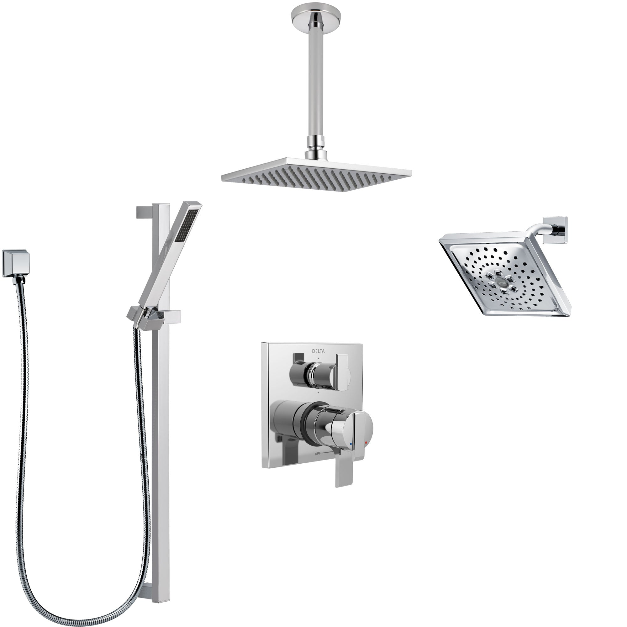 Delta Ara Chrome Shower System with Dual Control Handle, Integrated Diverter, Showerhead, Ceiling Mount Showerhead, and Hand Shower SS2796712