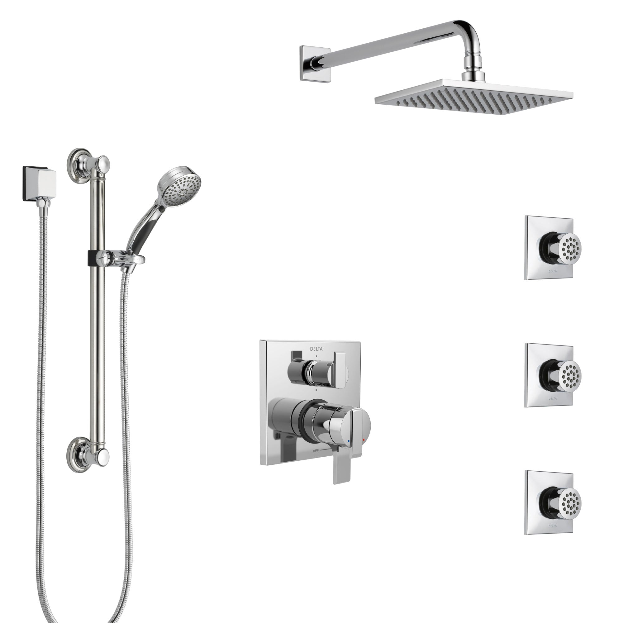 Delta Ara Chrome Shower System with Dual Control Handle, Integrated Diverter, Showerhead, 3 Body Sprays, and Hand Shower with Grab Bar SS279672