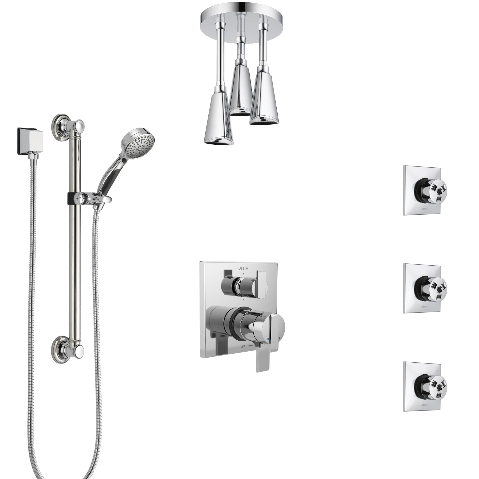 Delta Ara Chrome Shower System with Dual Control Handle, Integrated Diverter, Ceiling Showerhead, 3 Body Sprays, and Grab Bar Hand Shower SS279675