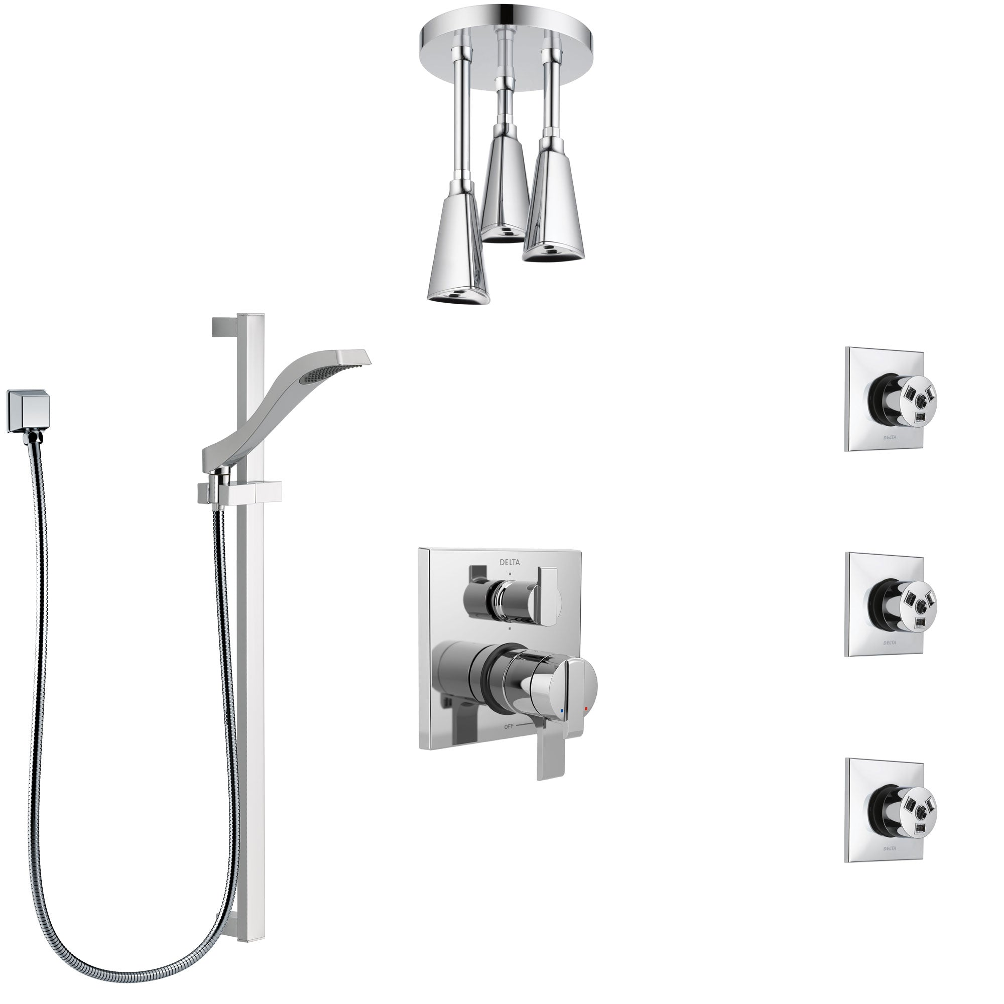 Delta Ara Chrome Shower System with Dual Control Handle, Integrated Diverter, Ceiling Mount Showerhead, 3 Body Sprays, and Hand Shower SS279676
