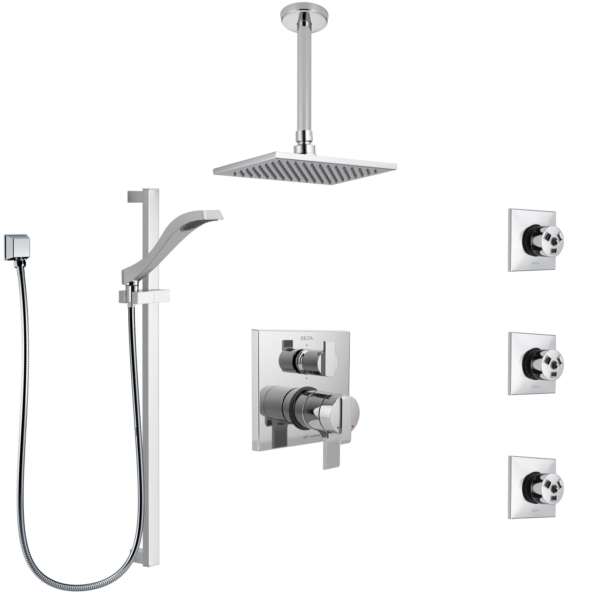 Delta Ara Chrome Shower System with Dual Control Handle, Integrated Diverter, Ceiling Mount Showerhead, 3 Body Sprays, and Hand Shower SS279678