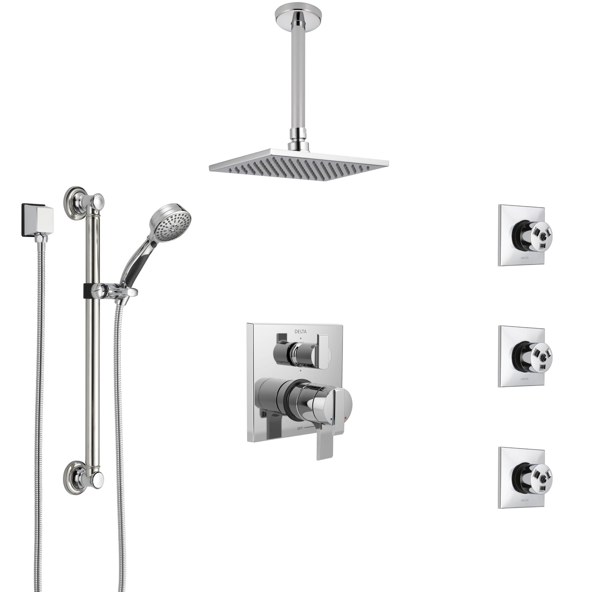 Delta Ara Chrome Shower System with Dual Control Handle, Integrated Diverter, Ceiling Showerhead, 3 Body Sprays, and Grab Bar Hand Shower SS279679