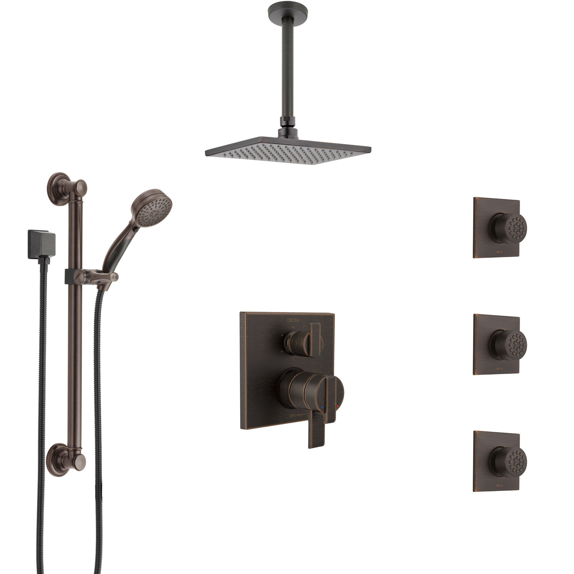 Delta Ara Venetian Bronze Shower System with Dual Control Handle, Integrated Diverter, Ceiling Showerhead, 3 Body Jets, Grab Bar Hand Spray SS27967RB1