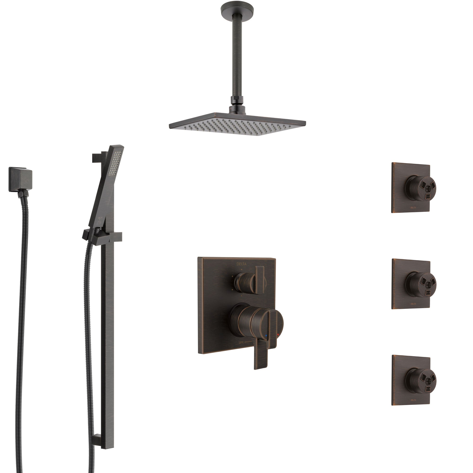 Delta Ara Venetian Bronze Shower System with Dual Control Handle, Integrated Diverter, Ceiling Showerhead, 3 Body Sprays, and Hand Shower SS27967RB3