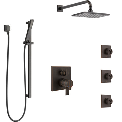 Delta Ara Venetian Bronze Shower System with Dual Control Handle, Integrated 6-Setting Diverter, Showerhead, 3 Body Sprays, and Hand Shower SS27967RB6
