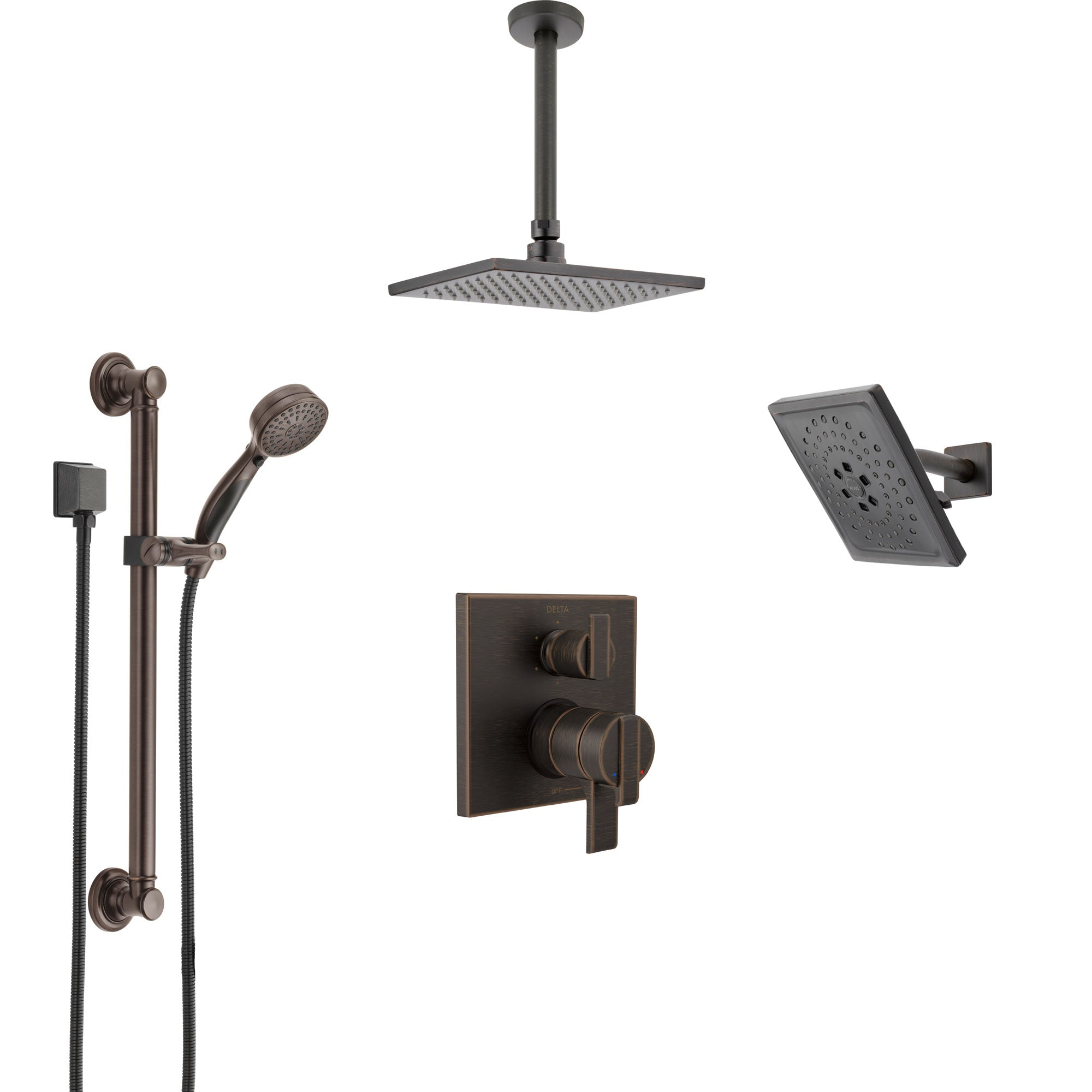 Delta Ara Venetian Bronze Shower System with Dual Control Handle, Integrated Diverter, Showerhead, Ceiling Showerhead, Grab Bar Hand Spray SS27967RB8
