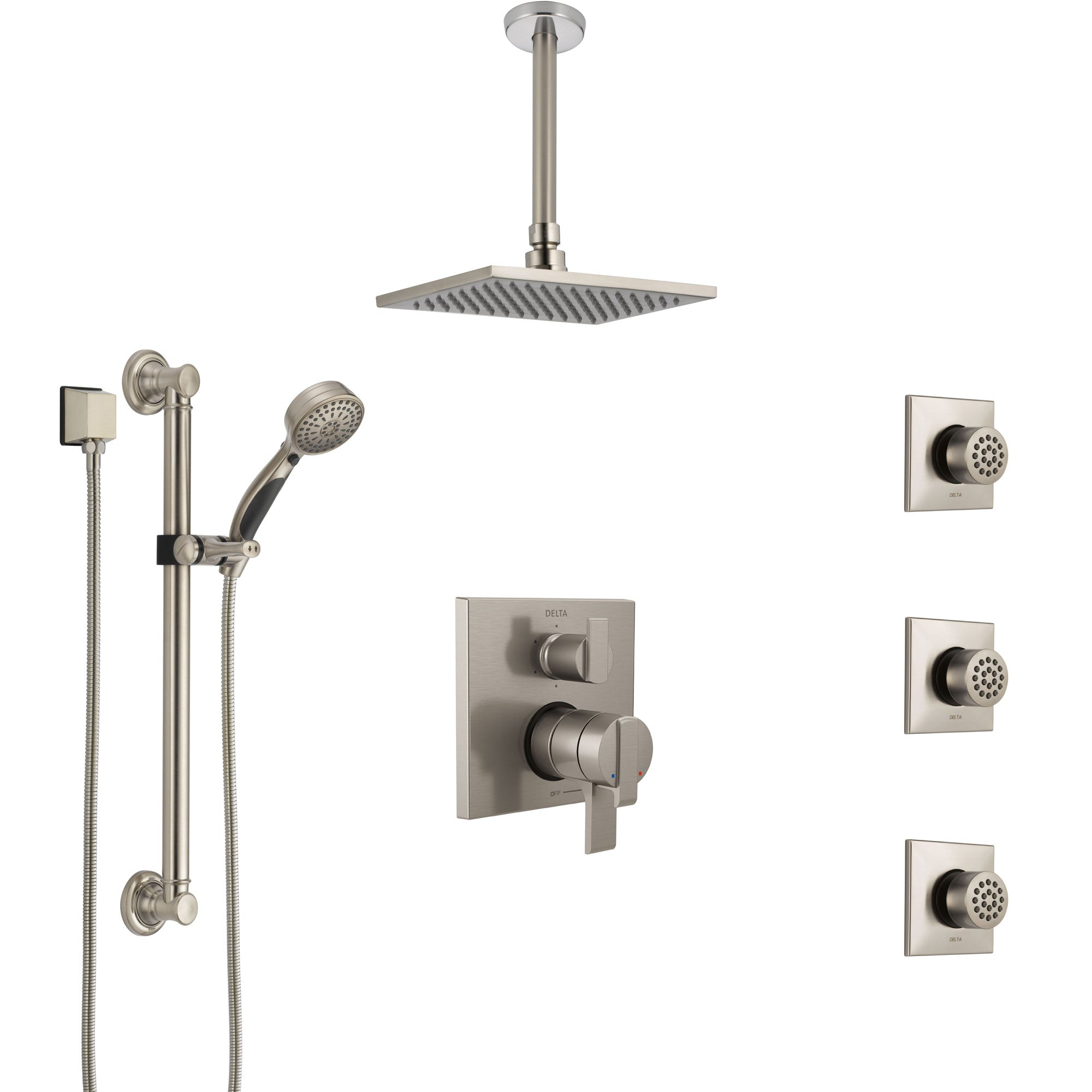 Delta Ara Dual Control Handle Stainless Steel Finish Shower System, Ceiling Showerhead, 3 Body Jets, Grab Bar Hand Spray SS27967SS1