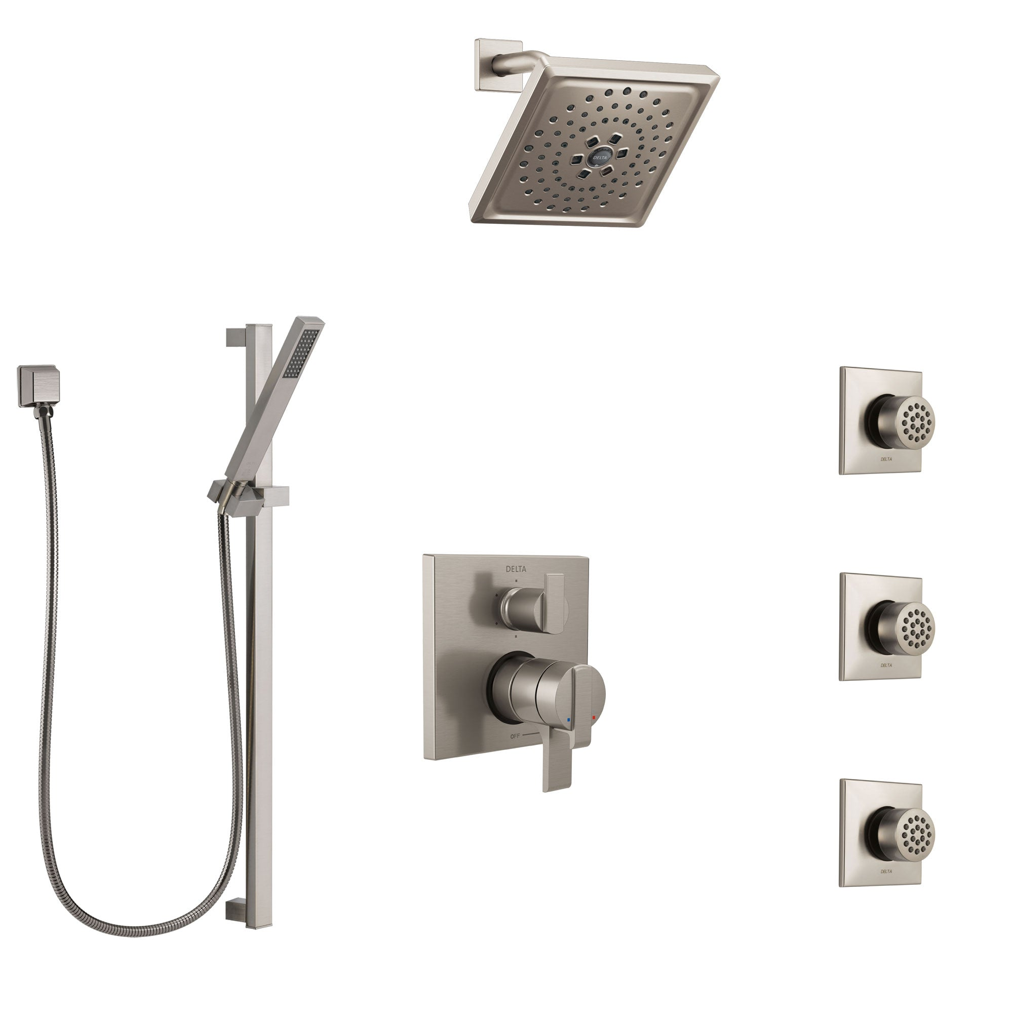 Delta Ara Dual Control Handle Stainless Steel Finish Shower System In Faucetlist Com