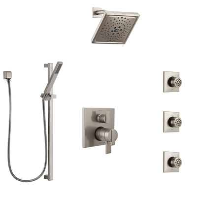 Delta Ara Dual Control Handle Stainless Steel Finish Shower System, Integrated Diverter, Showerhead, 3 Body Sprays, and Hand Shower SS27967SS6