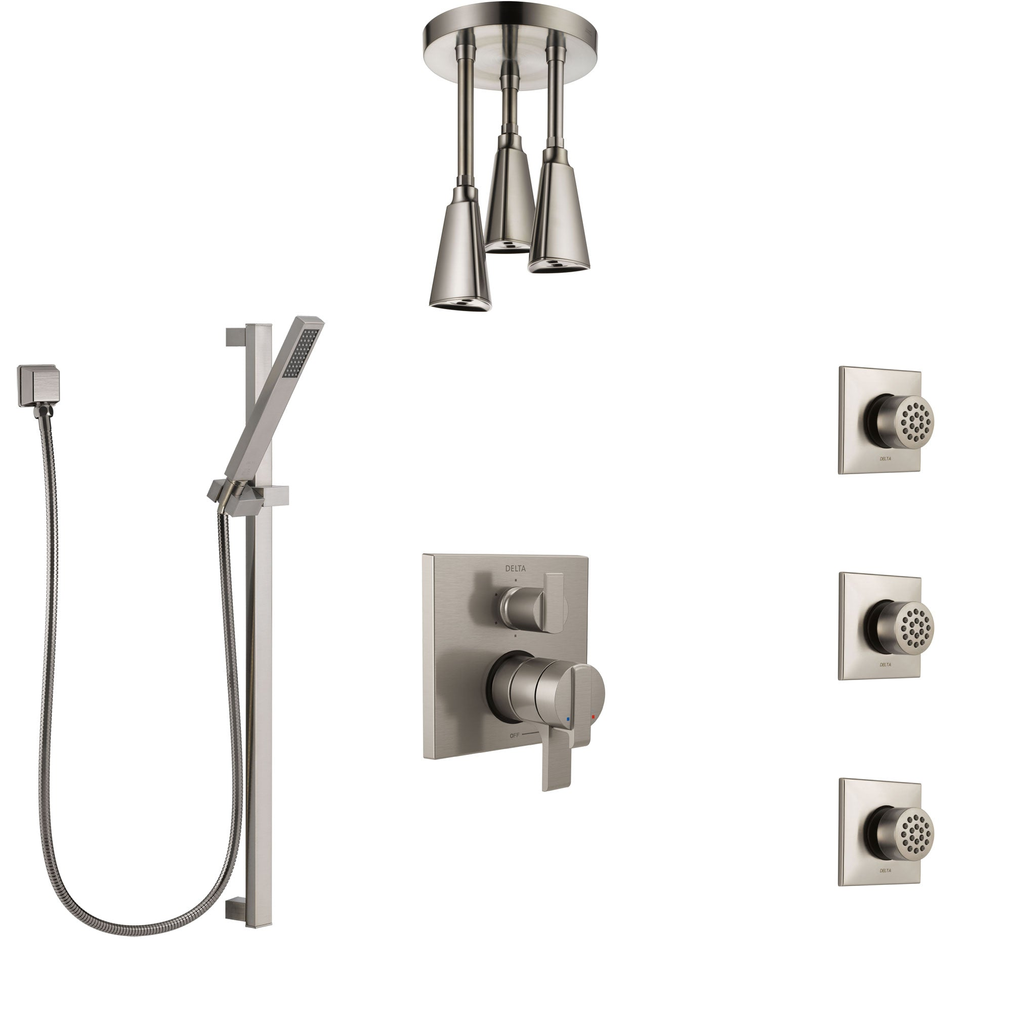 Delta Ara Dual Control Handle Stainless Steel Finish Shower System, Integrated Diverter, Ceiling Showerhead, 3 Body Sprays, and Hand Shower SS27967SS7