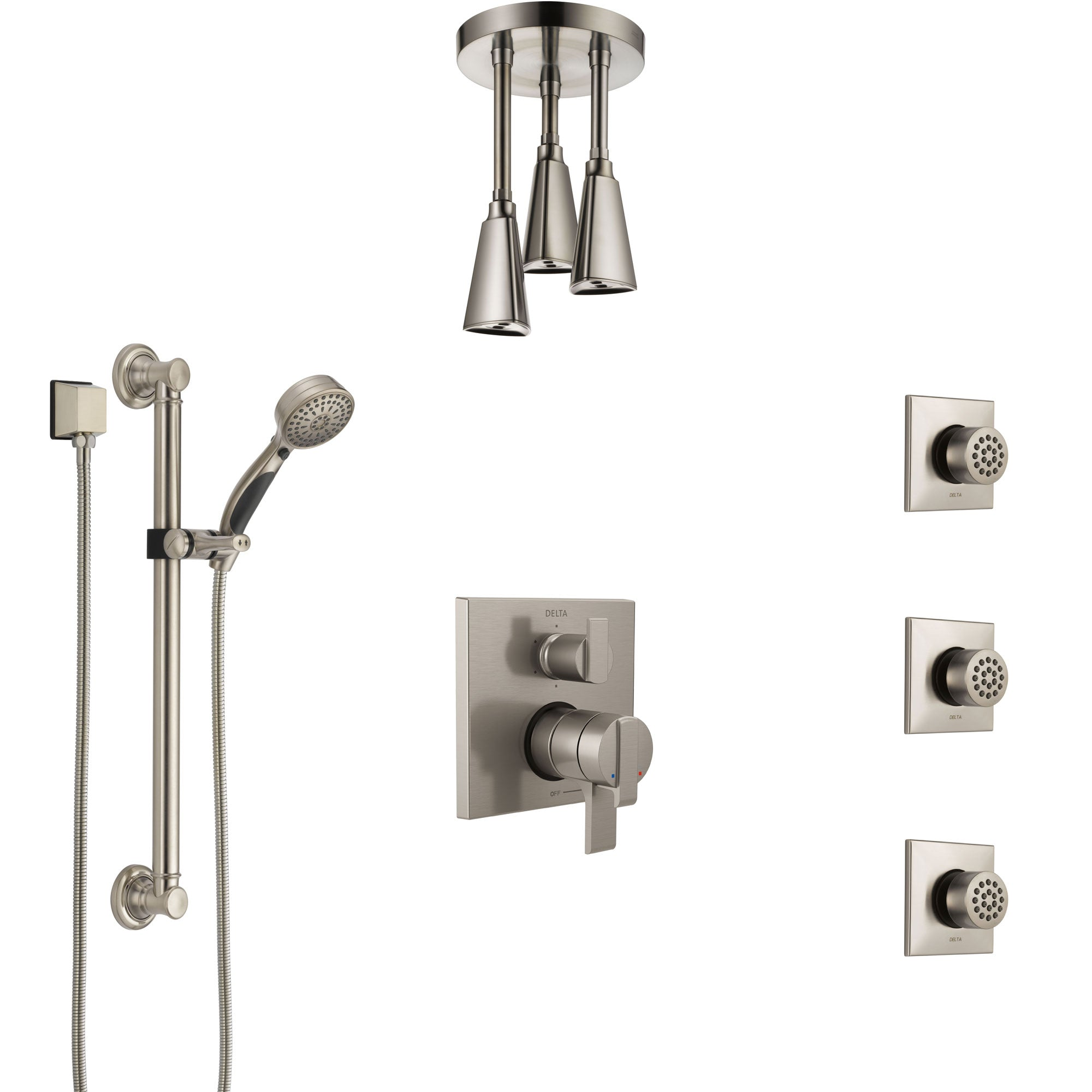 Delta Ara Dual Control Handle Stainless Steel Finish Shower System, Ceiling Showerhead, 3 Body Jets, Grab Bar Hand Spray SS27967SS8