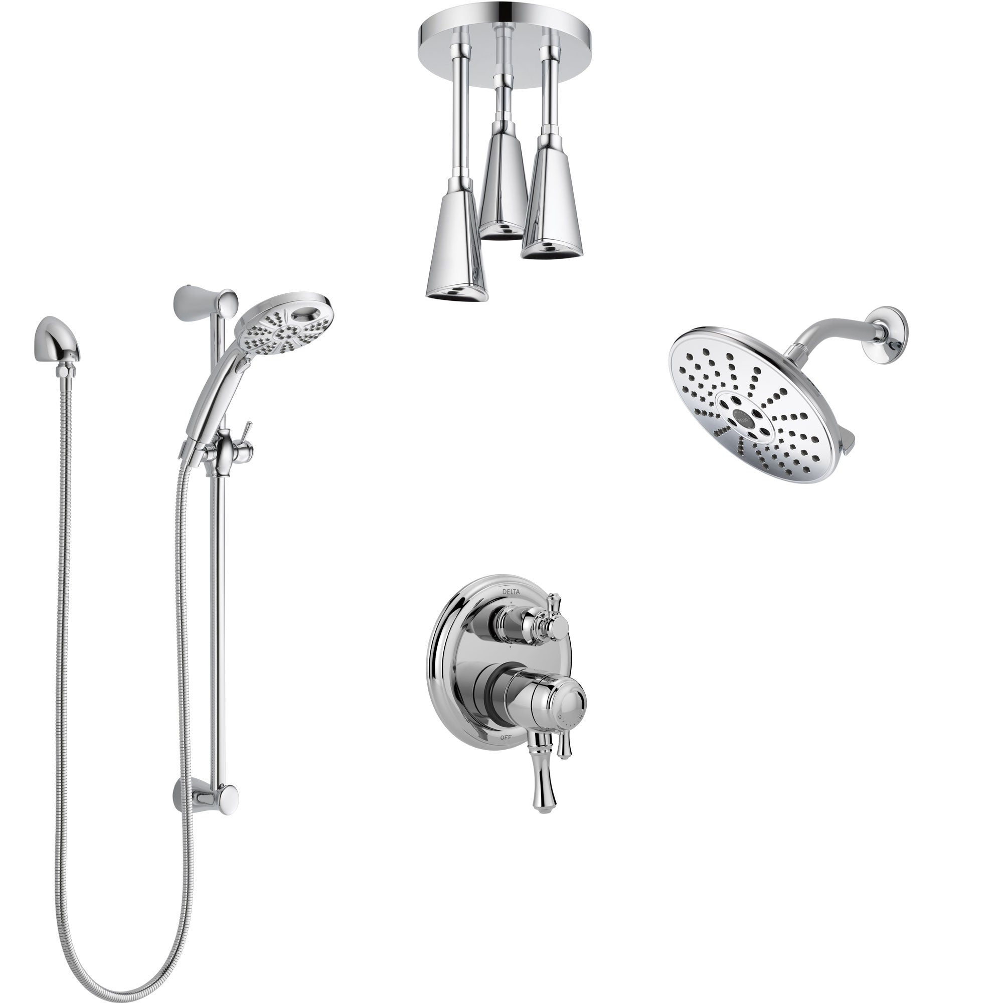 Delta Cassidy Chrome Shower System with Dual Control Handle, Integrated Diverter, Showerhead, Ceiling Mount Showerhead, & Temp2O Hand Shower SS2799710