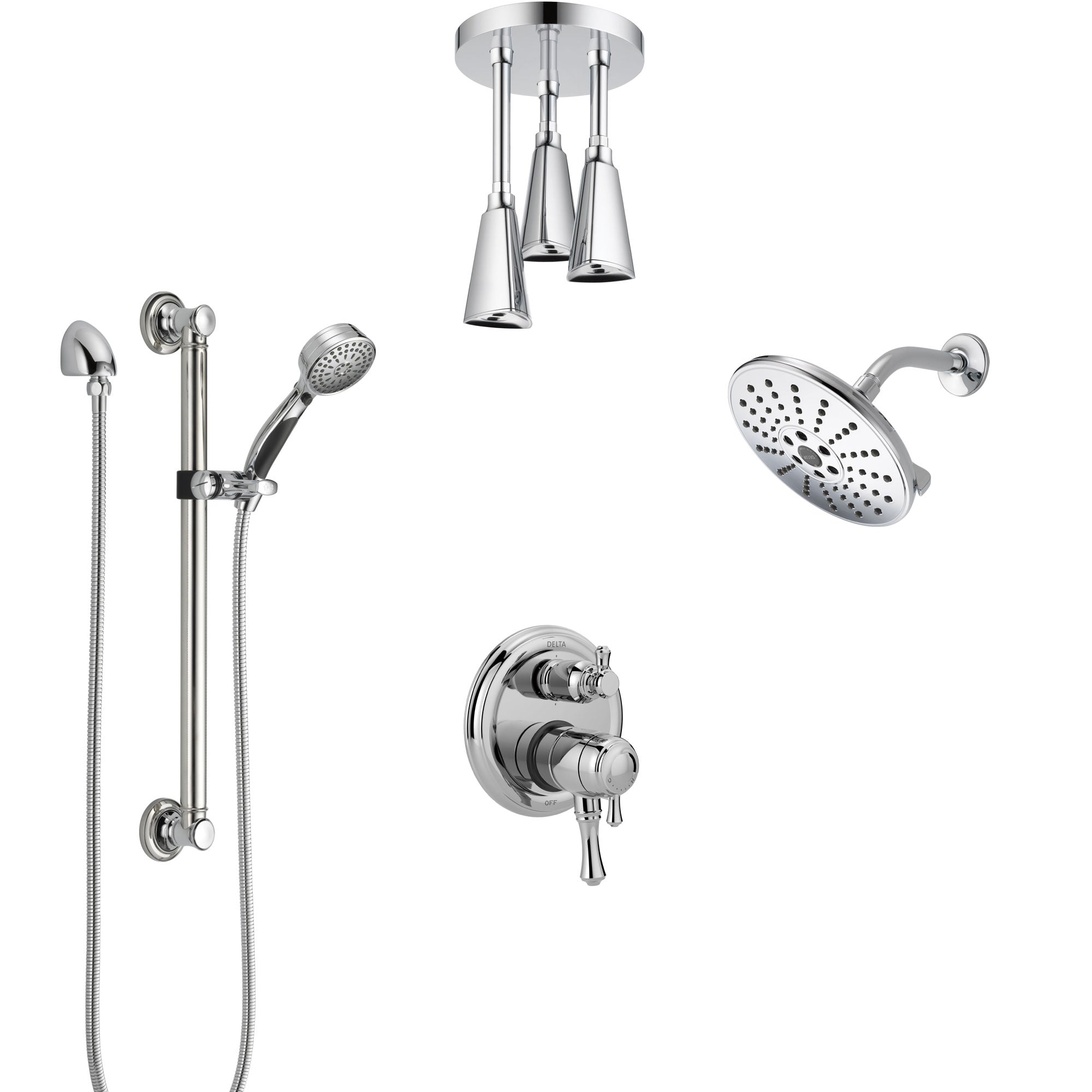 Delta Cassidy Chrome Shower System with Dual Control Handle, Integrated Diverter, Showerhead, Ceiling Showerhead, and Grab Bar Hand Shower SS2799711