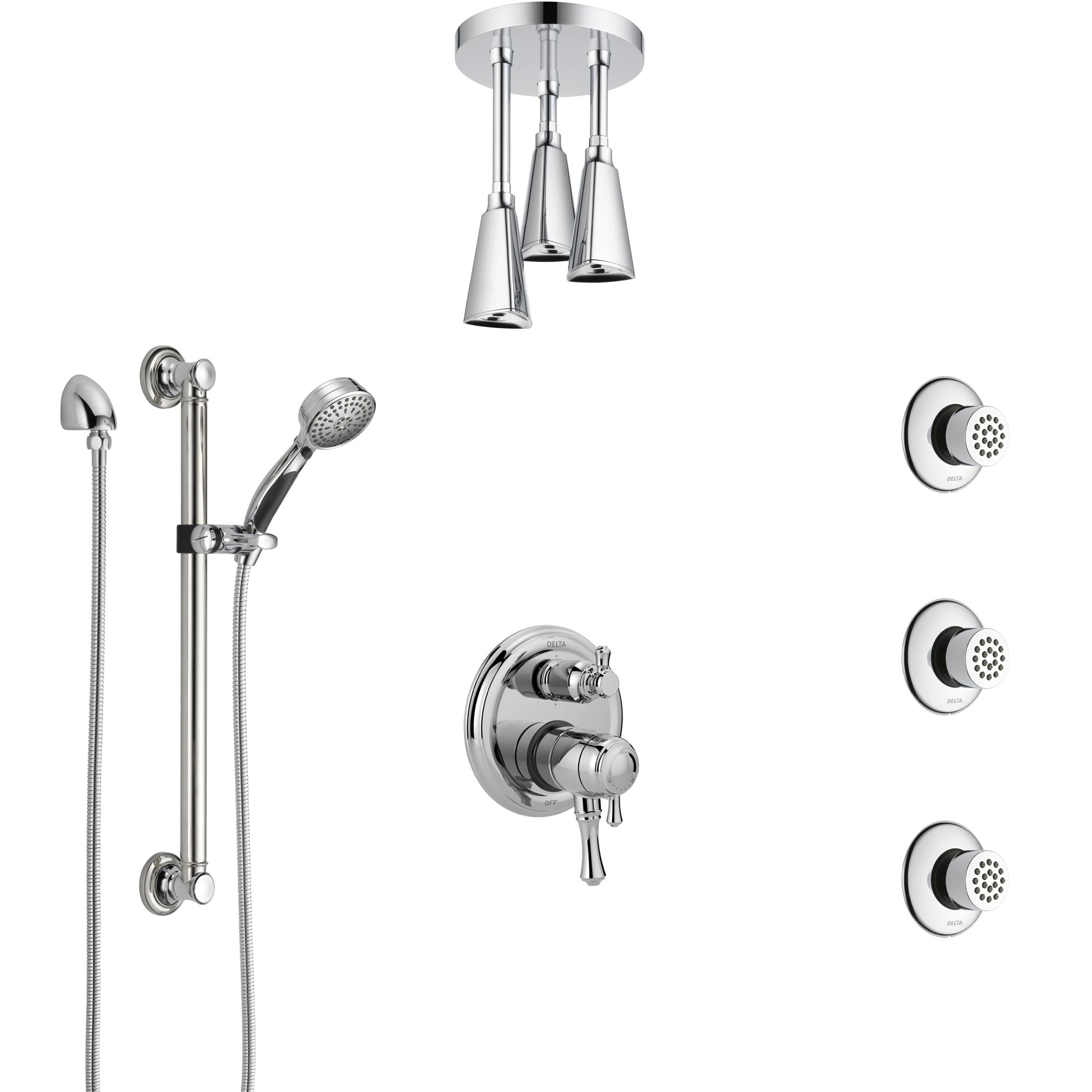 Delta Cassidy Chrome Shower System with Dual Control Handle, Integrated Diverter, Ceiling Showerhead, 3 Body Sprays, and Grab Bar Hand Spray SS2799712