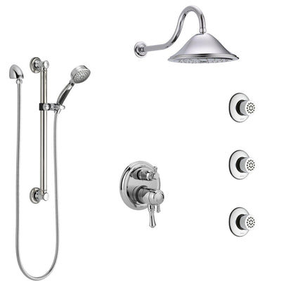 Delta Cassidy Chrome Shower System with Dual Control Handle, Integrated Diverter, Showerhead, 3 Body Sprays, and Hand Shower with Grab Bar SS279972