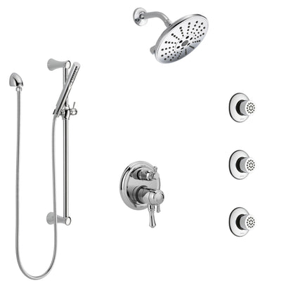 Delta Cassidy Chrome Finish Shower System with Dual Control Handle, Integrated 6-Setting Diverter, Showerhead, 3 Body Sprays, and Hand Shower SS279974