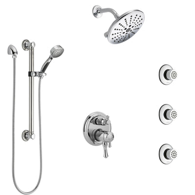 Delta Cassidy Chrome Shower System with Dual Control Handle, Integrated Diverter, Showerhead, 3 Body Sprays, and Hand Shower with Grab Bar SS279975