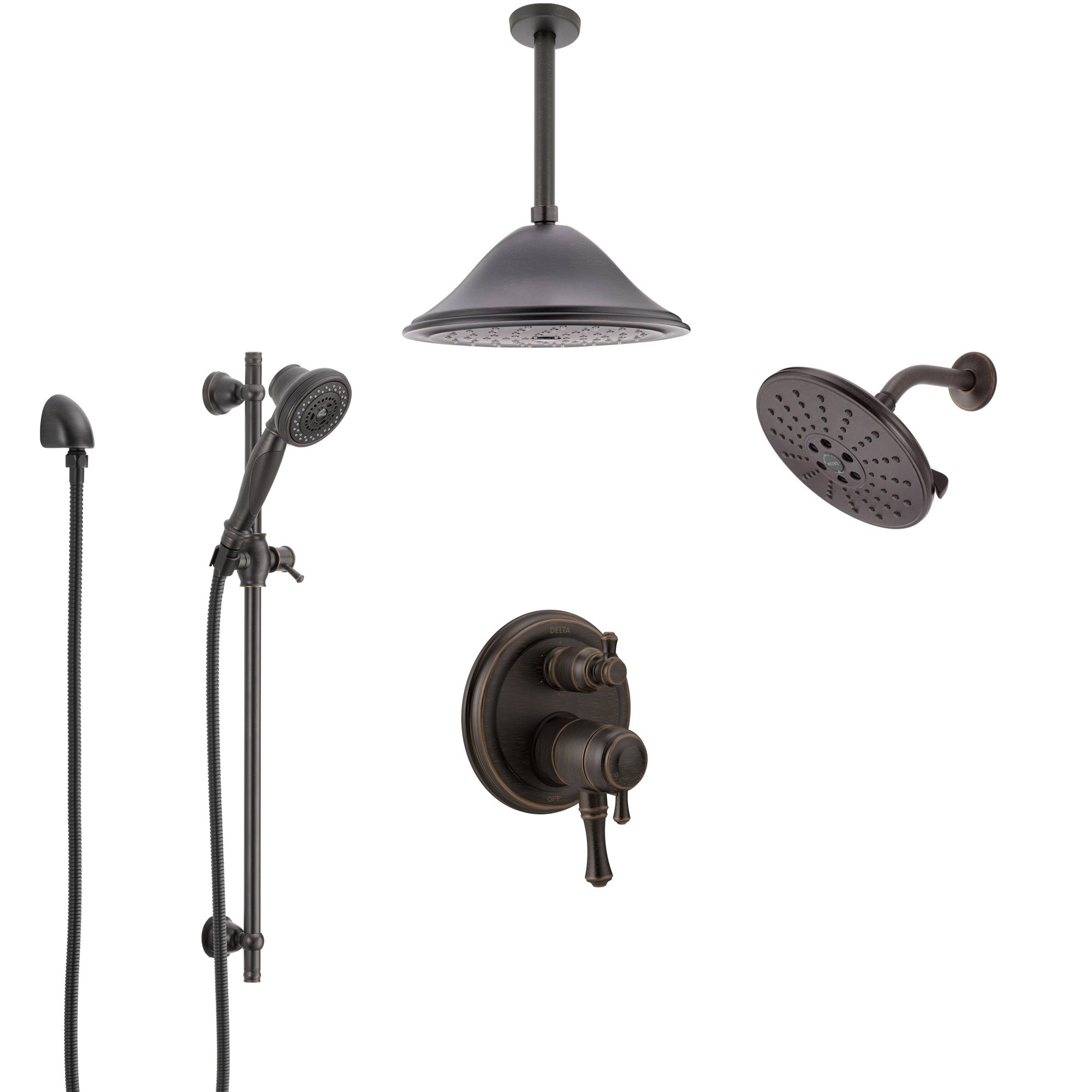 Delta Cassidy Venetian Bronze Shower System with Dual Control Handle, Integrated Diverter, Showerhead, Ceiling Showerhead, and Hand Shower SS27997RB10