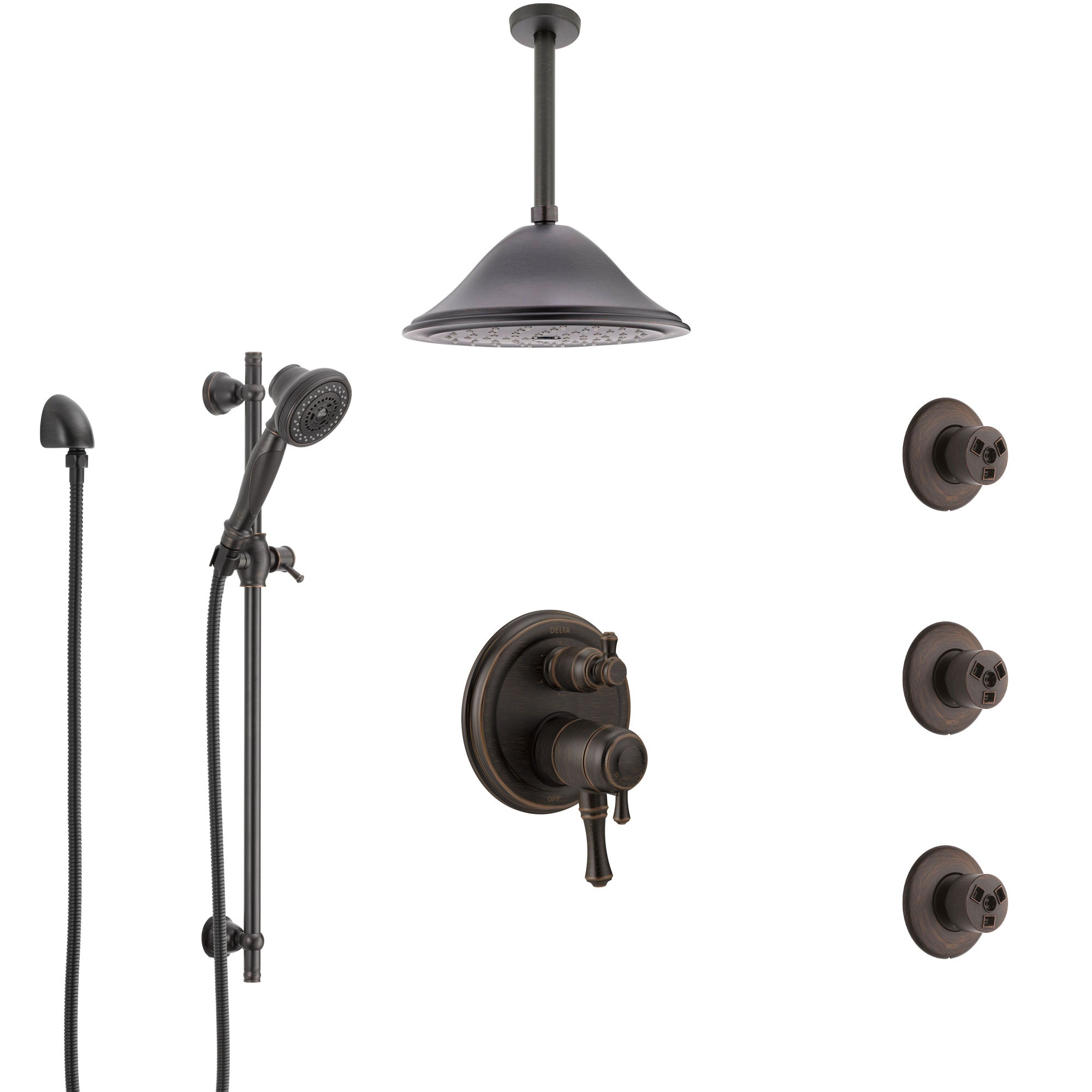 Delta Cassidy Venetian Bronze Shower System with Dual Control Handle, Integrated Diverter, Ceiling Showerhead, 3 Body Sprays, Hand Spray SS27997RB11